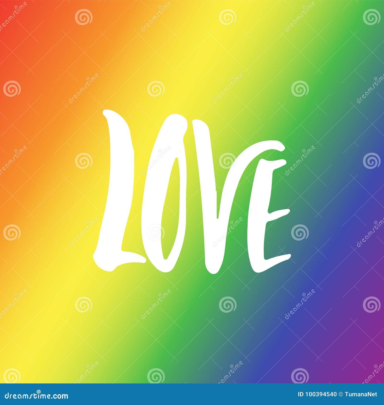 Amor - cita dibujada mano de las letras del lema de LGBT aislada en el fondo de la bandera del arco iris Inscripción de la tinta
