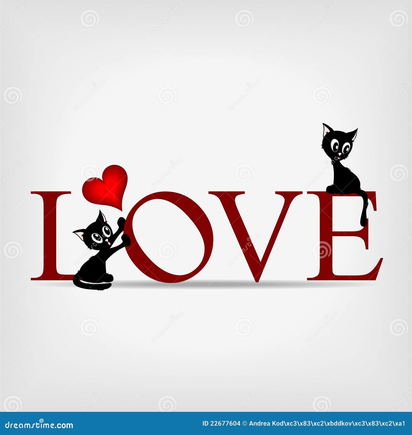 amor da palavra com os dois gatinhos bonitos ilustra o do vetor ilustra o de engra ado. Black Bedroom Furniture Sets. Home Design Ideas