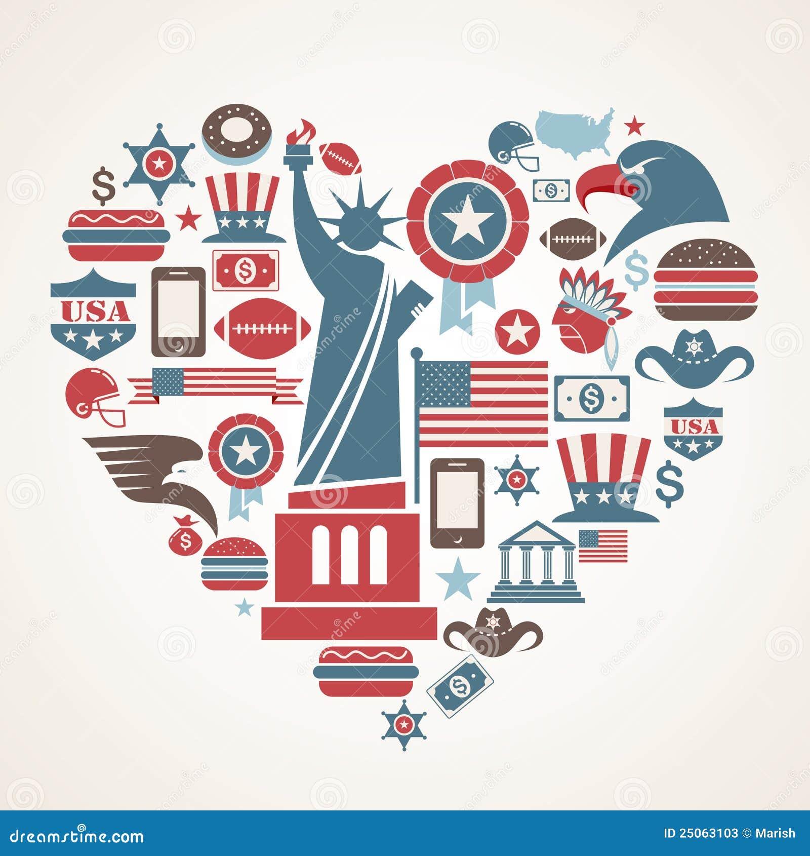 Amor de América - dimensión de una variable del corazón con muchos iconos del vector