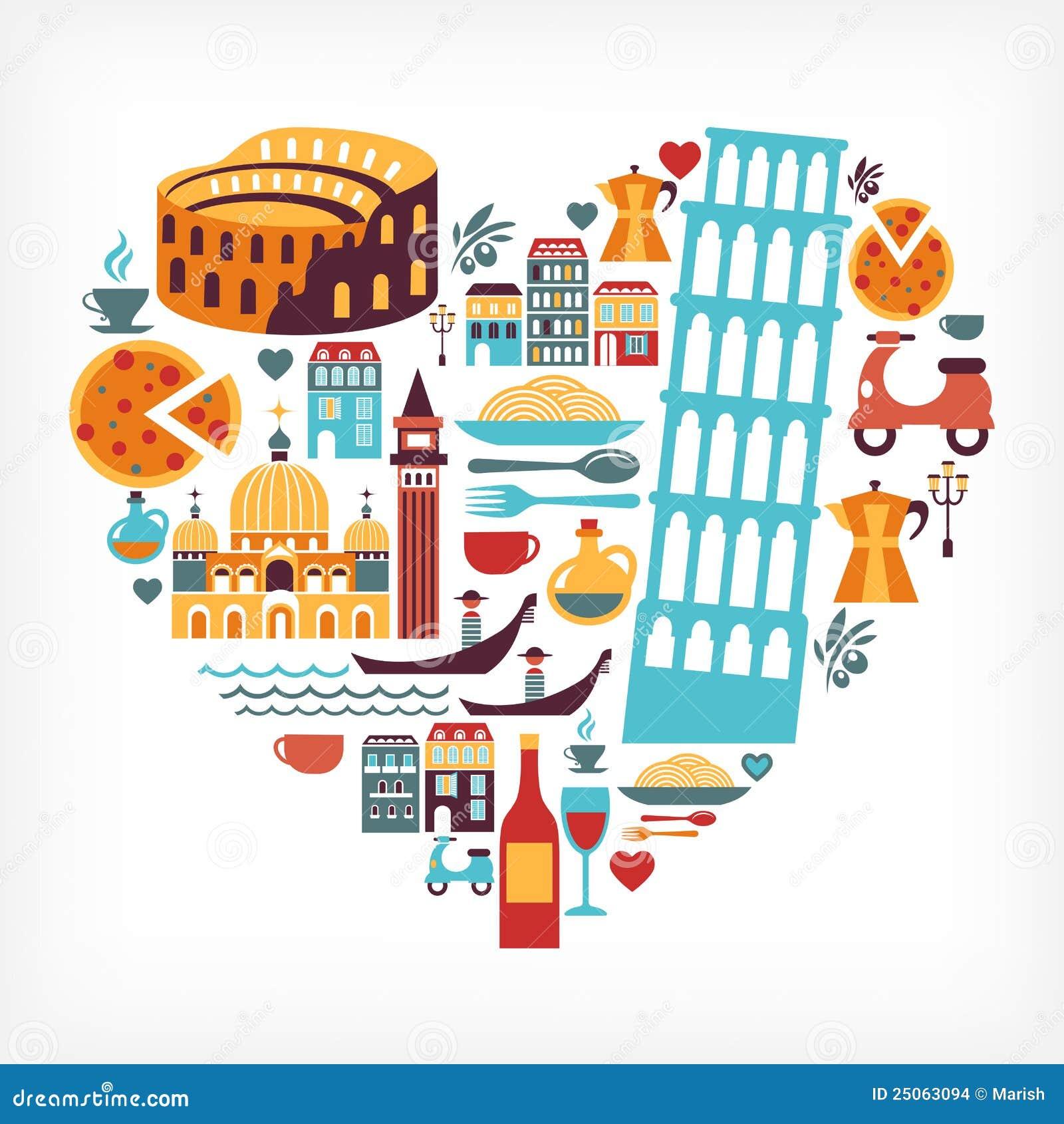 Amor de Italy - forma do coração com ícones do vetor