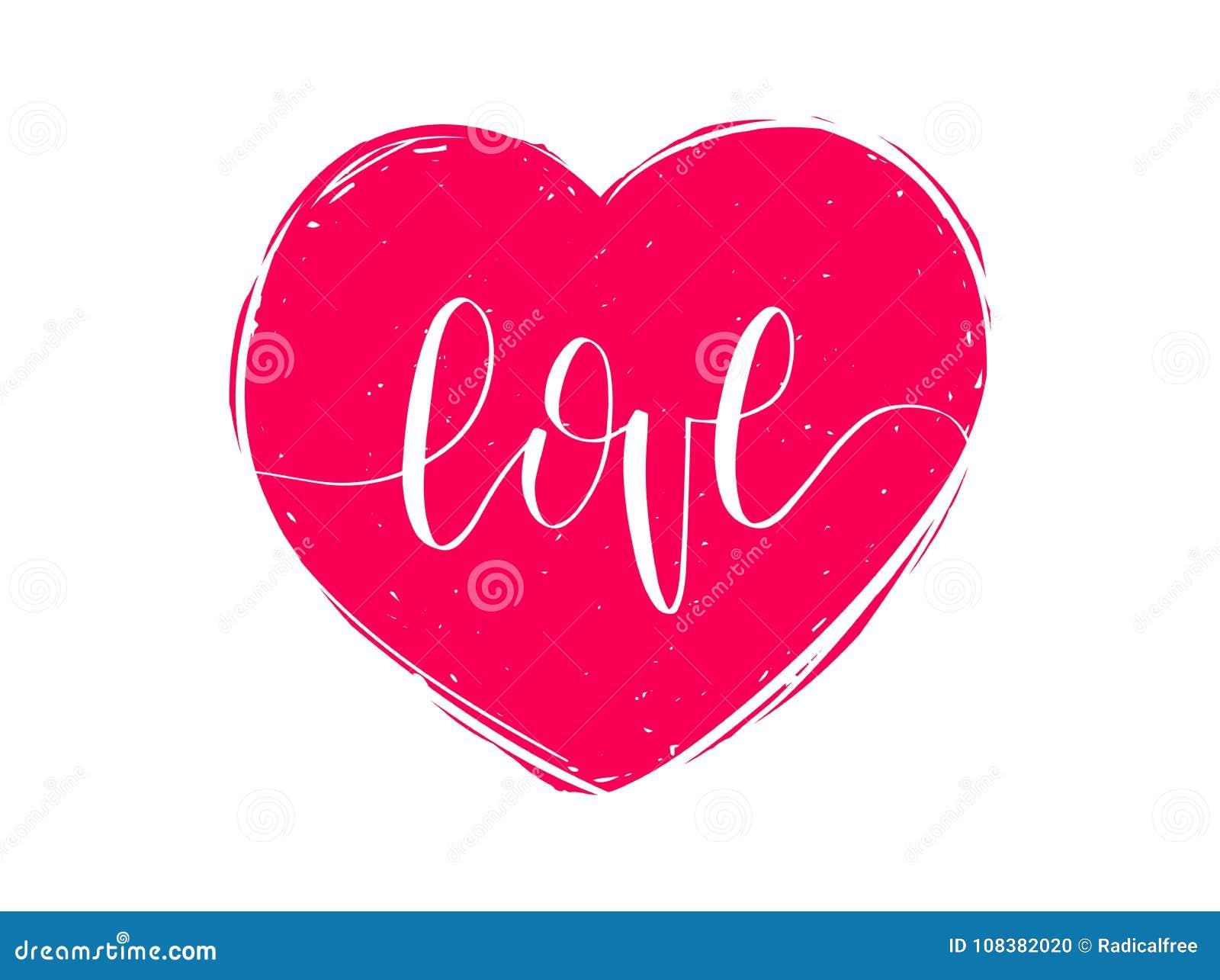 Amor De La Frase De Las Letras De La Mano Del Vector 14 De Febrero