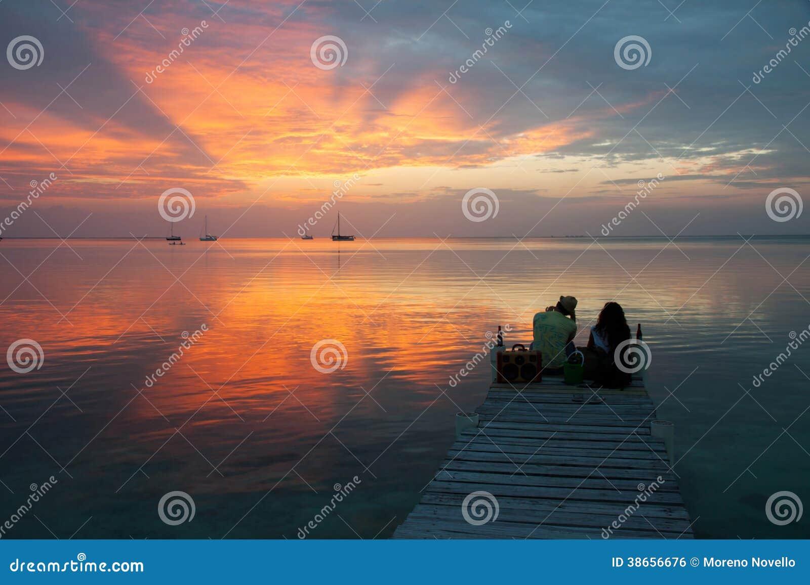 Amor de la puesta del sol