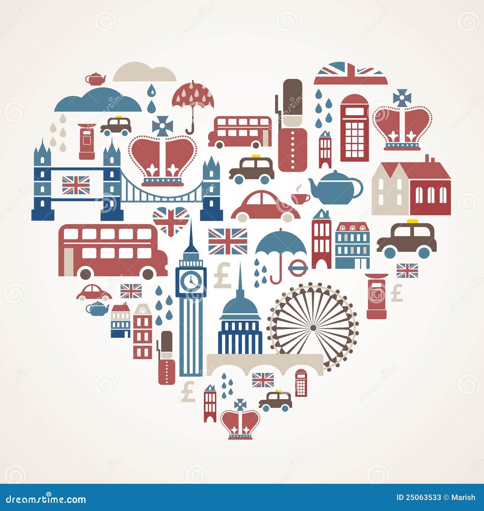 Amor de Londres - corazón con muchos iconos del vector