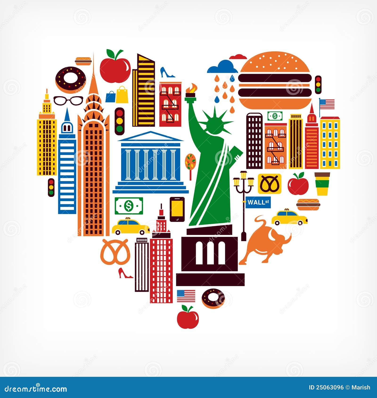 Amor de New York - forma do coração com muitos ícones do vetor