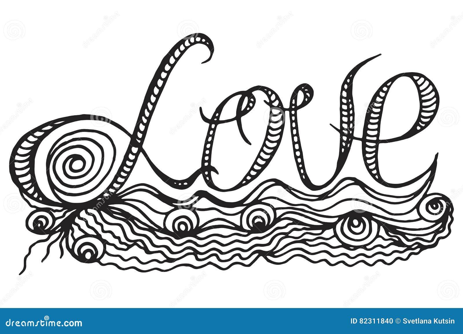 Amor Decorativo Del Texto Libro De Colorear Para Los Niños Adultos Y ...