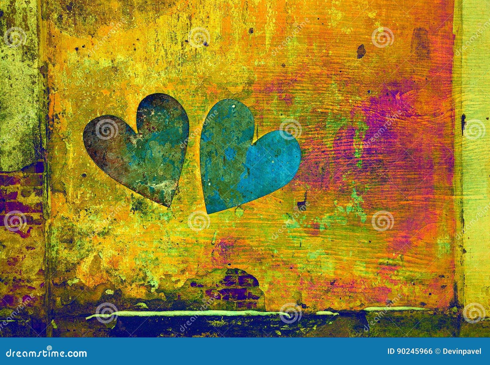 Amor e romance dois corações no estilo do grunge no fundo abstrato