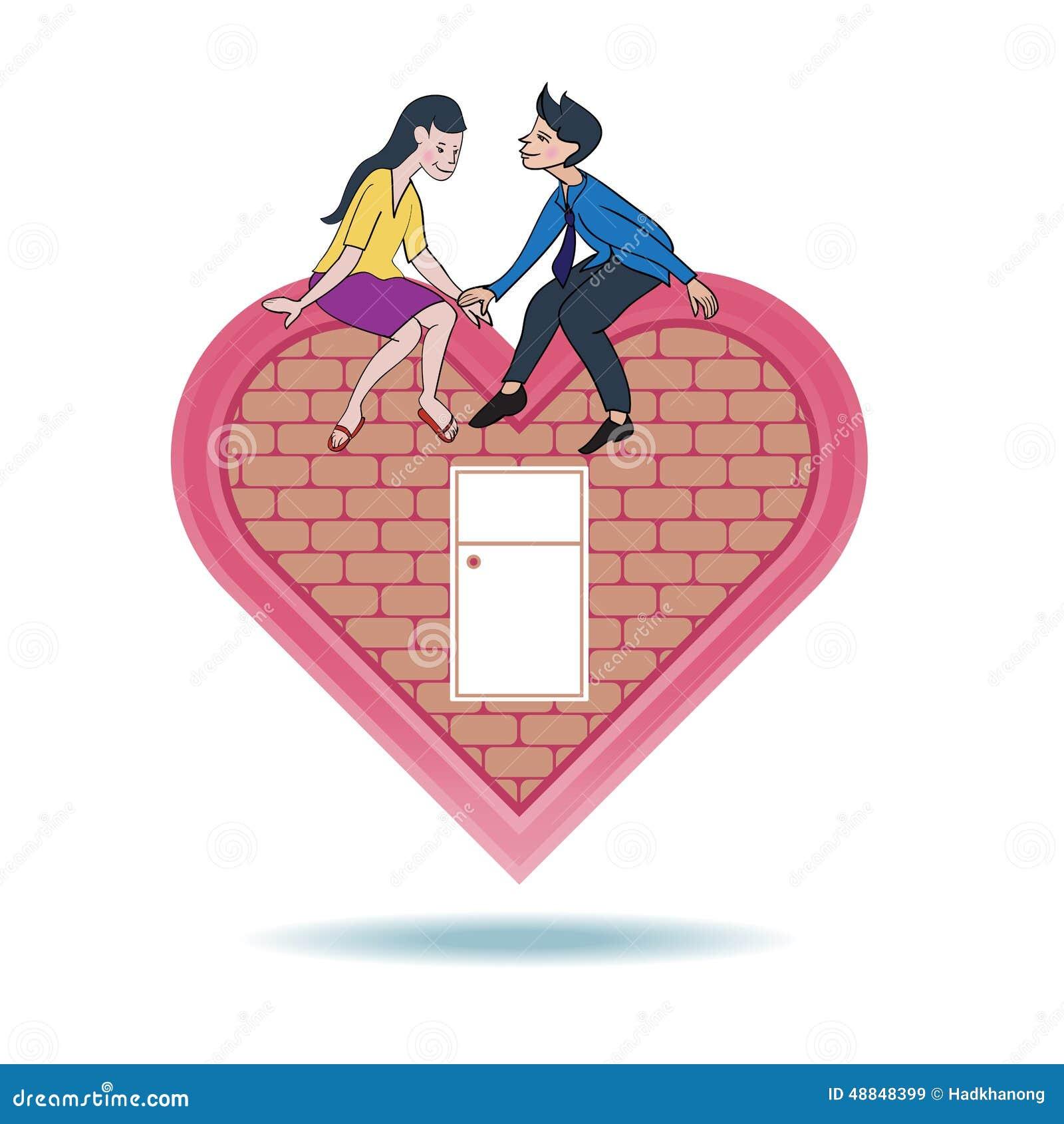 Amor Expreso Del Amante En Hogar De La Forma Del Corazón Stock de ...