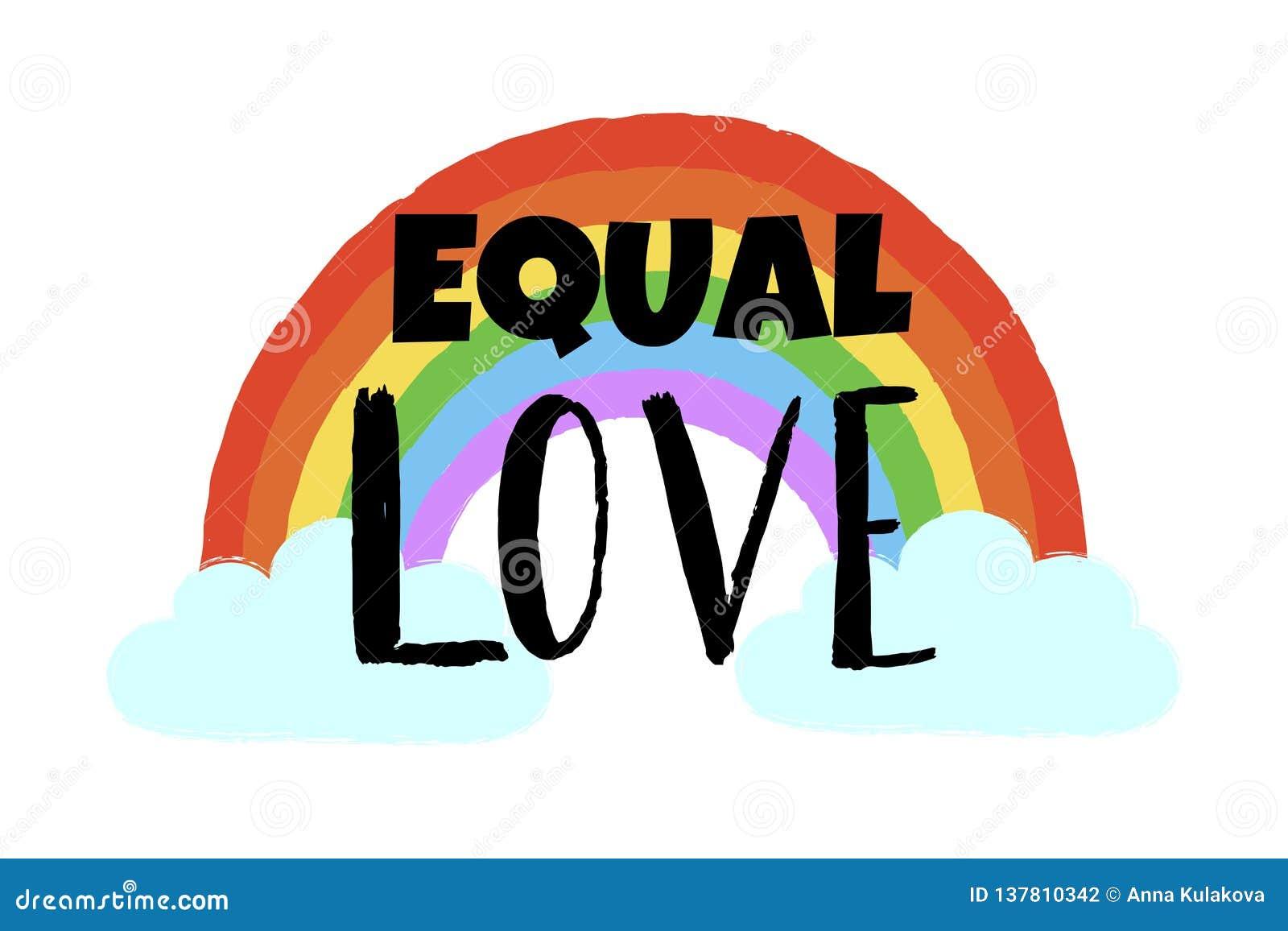 Amor igual exhausto del arco iris, de la nube y del texto de la mano Cartel inspirado de Gay Pride, emblema de la homosexualidad