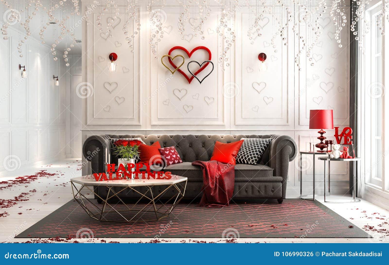 Amor - interior clássico luxuoso moderno para o dia do ` s do Valentim Livin