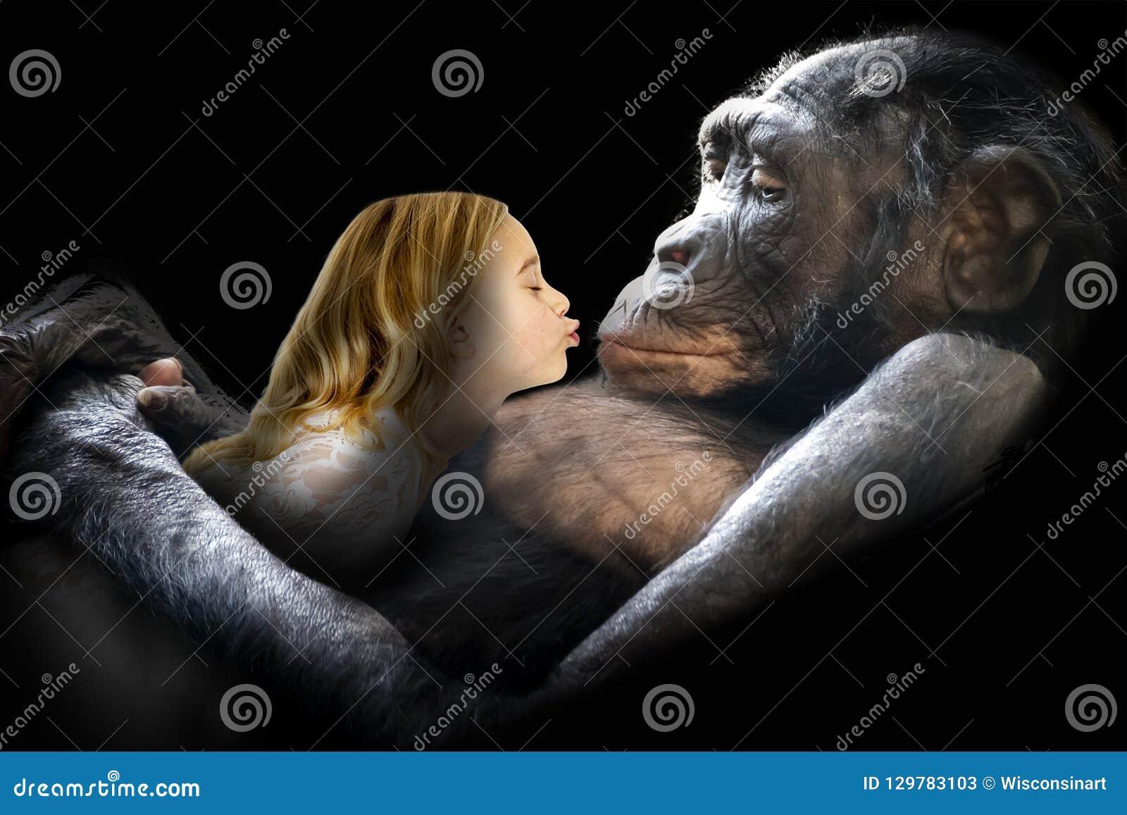 Amor, natureza, menina, macaco, beijo