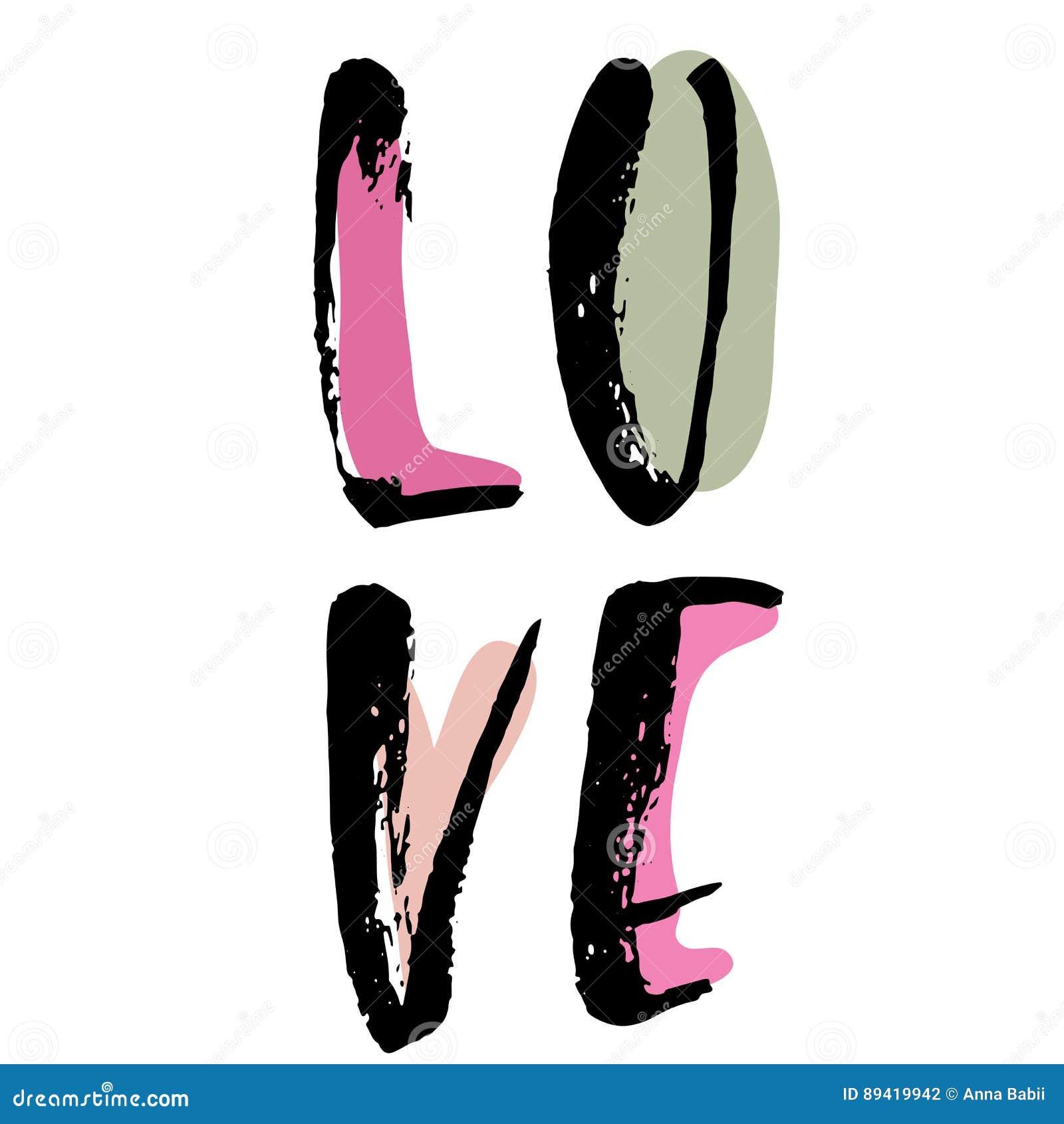Amor Rotulação tirada mão da tinta Moderno seque a tipografia da escova Ilustração do vetor de Grunge