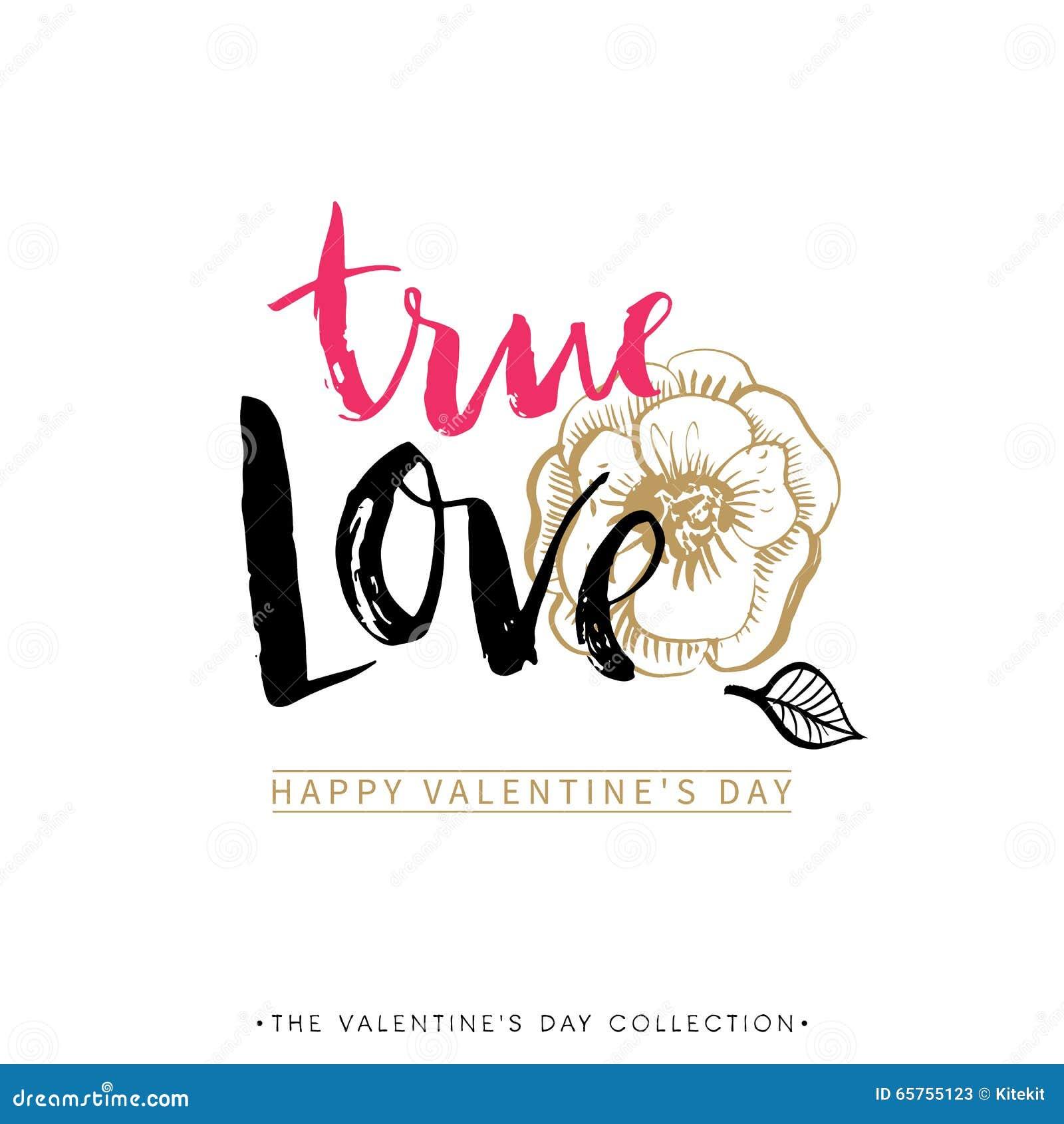 Amor verdadeiro Cartão do dia de Valentim com caligrafia