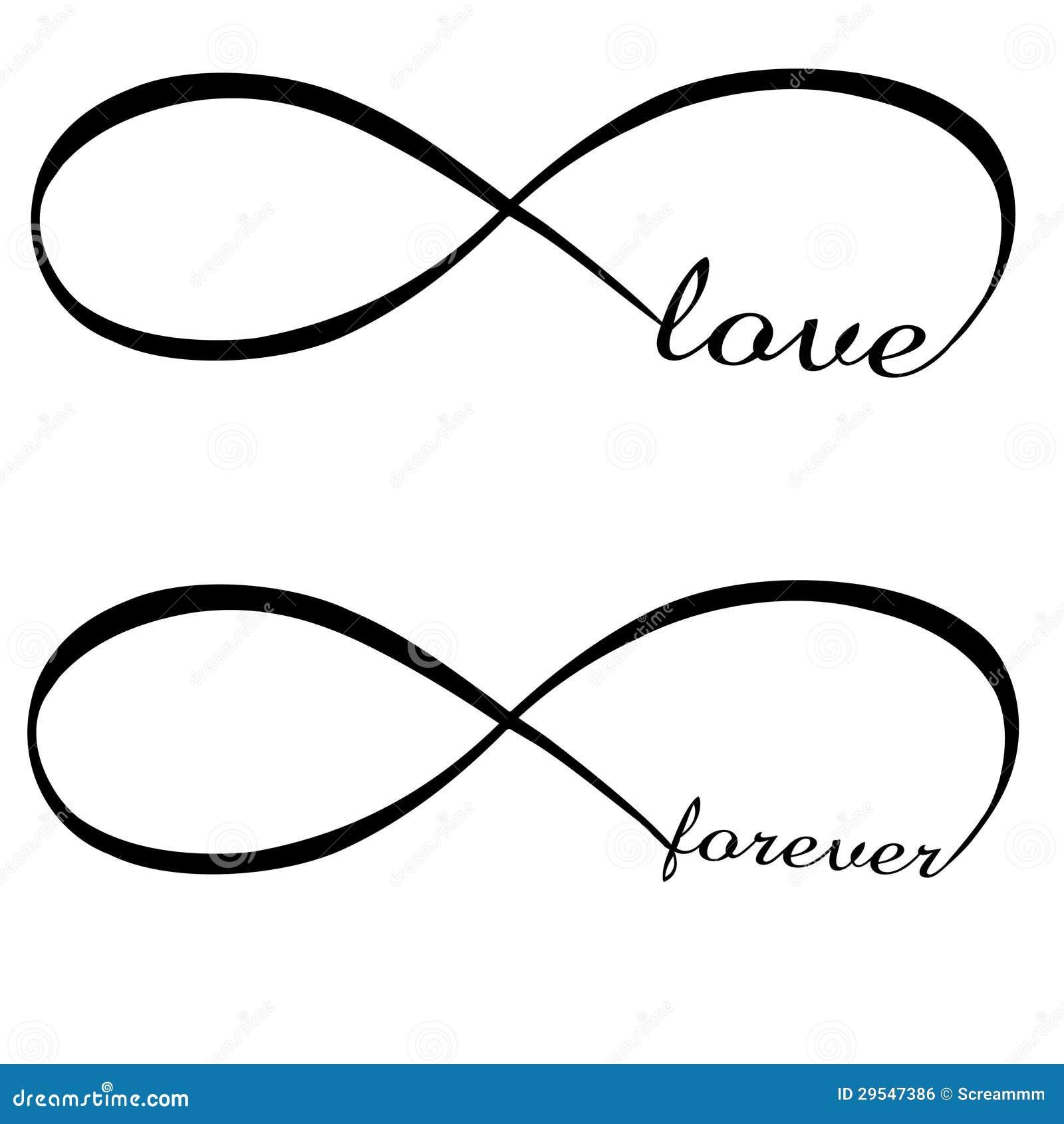 Amor Y Para Siempre Símbolo Del Infinito Ilustración Del Vector
