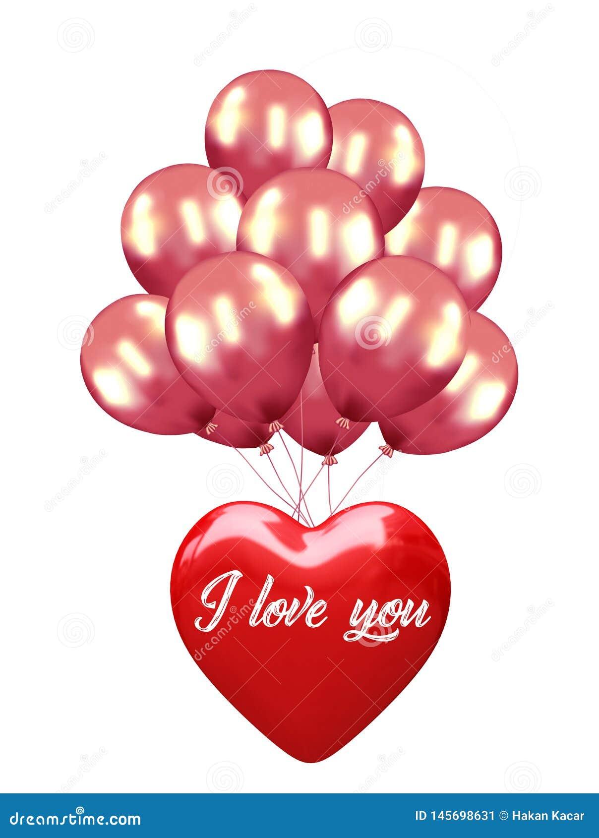 Amore Baloon isolato su bianco, cuore di impulso: concetto rosso di amore del biglietto di S. Valentino, giorno di biglietti di S