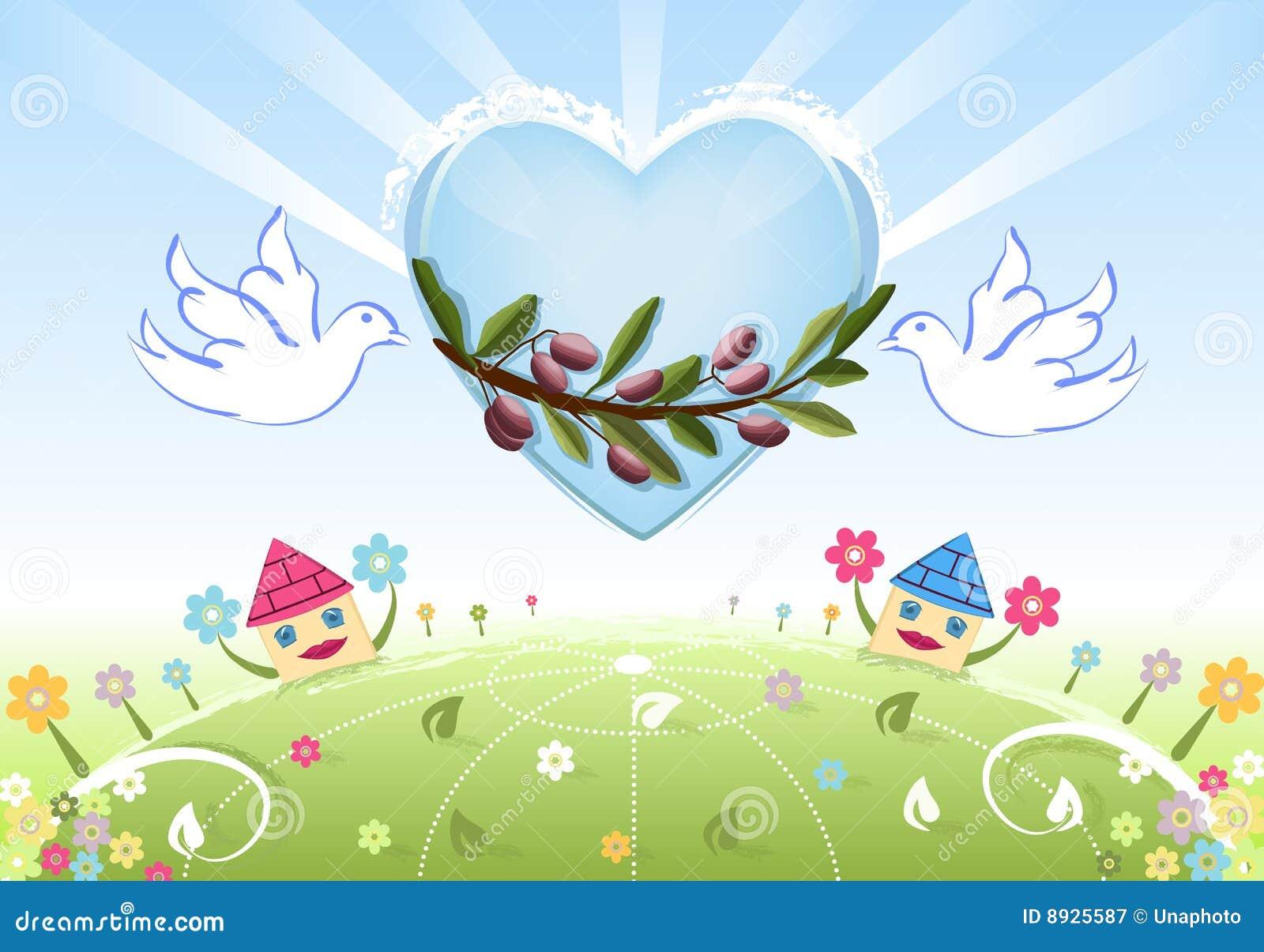 Amore E Pace Alla Terra Con Le Colombe Bianche Illustrazione