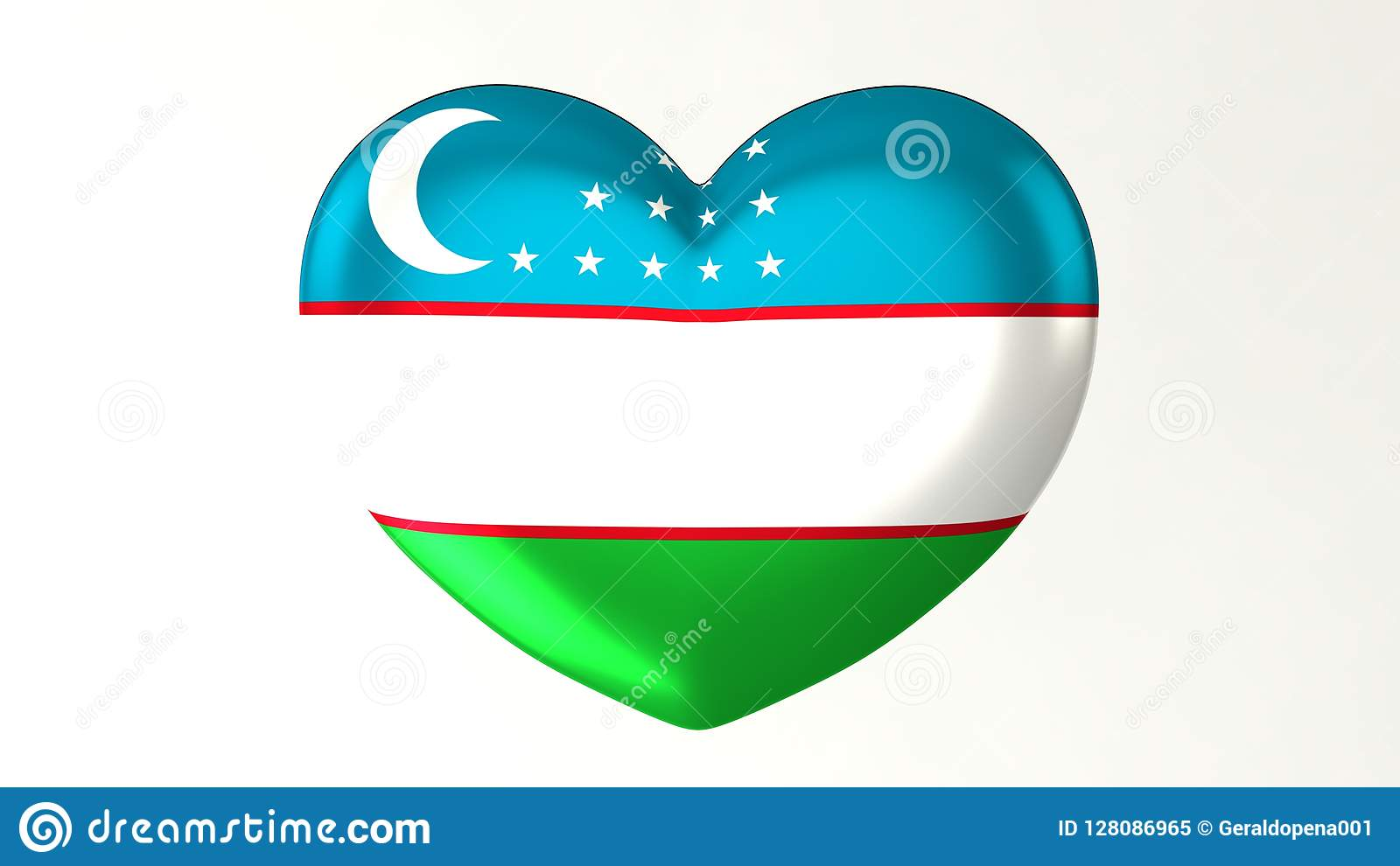 Amore in forma di cuore l Uzbekistan dell illustrazione I della bandiera 3D