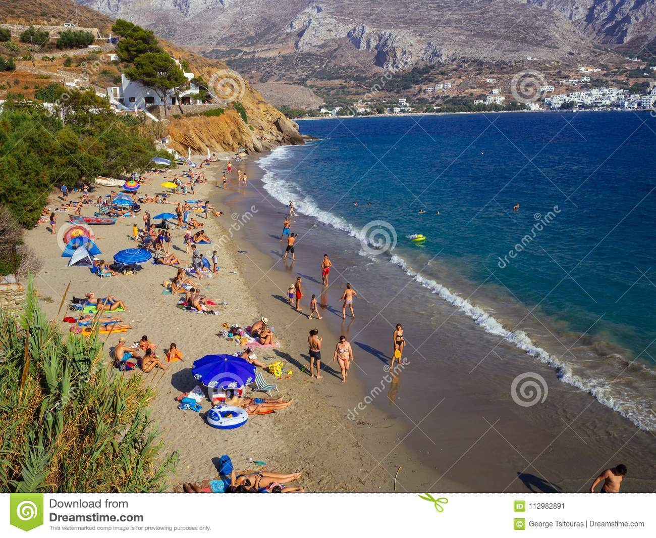 Amorgos, Greece-August 2,2017.A higher view of the beautiful beach of Psili Ammos, with crystal clear filled with tourists