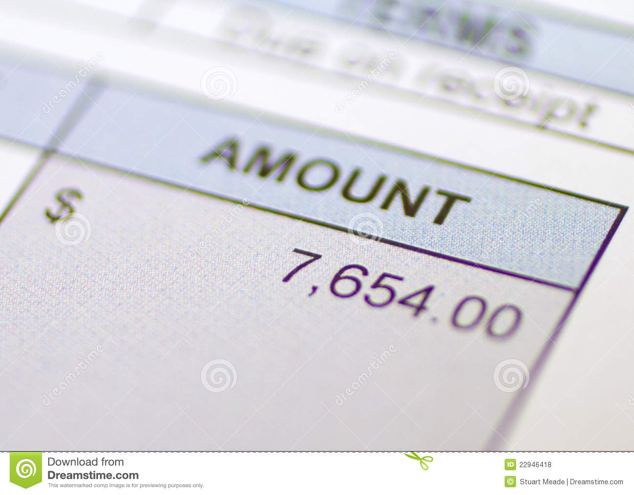 Bill Amount Owed Royalty Free Stock Photos - Image: 22946418