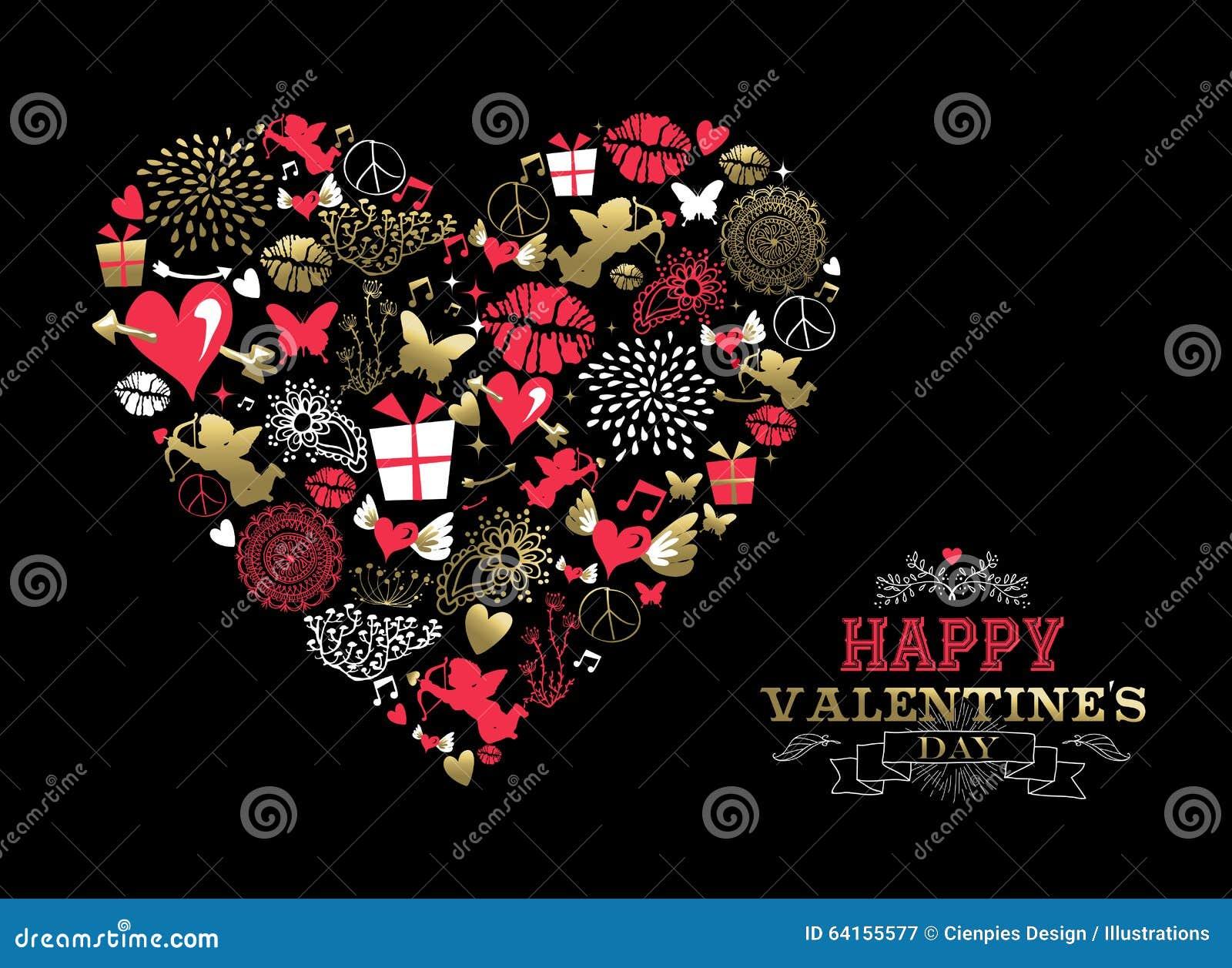 Amour d icône de vintage de carte de voeux de jour de valentines