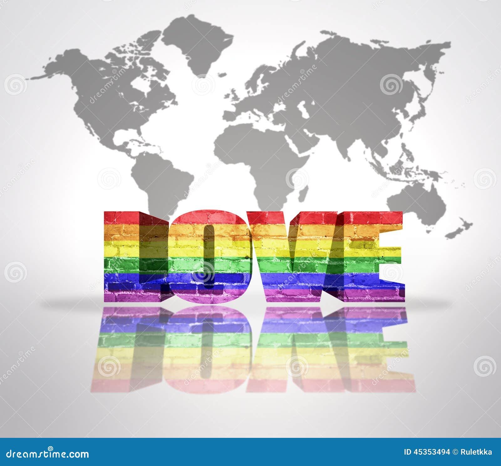 Amour de Word avec le drapeau d homosexuel d arc-en-ciel