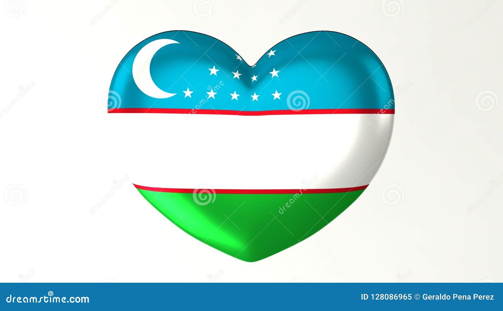 Amour en forme de coeur l Ouzbékistan de l illustration I du drapeau 3D