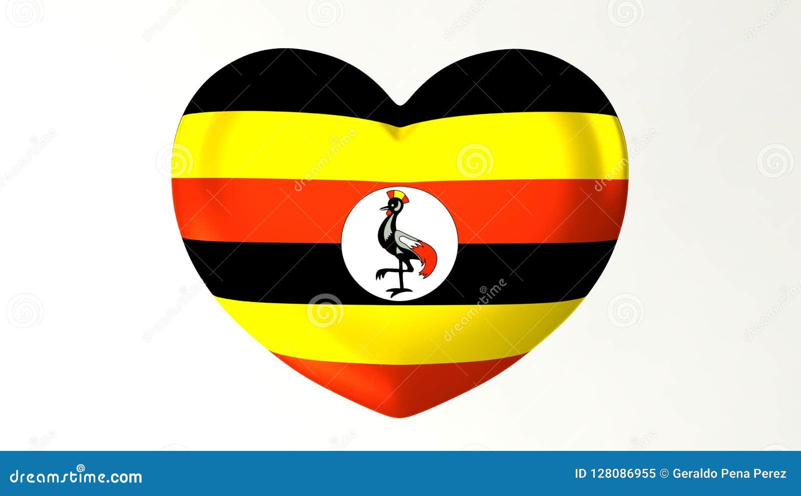 Amour en forme de coeur Ouganda de l illustration I du drapeau 3D