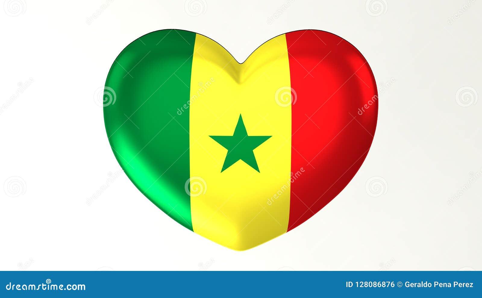 Amour en forme de coeur Sénégal de l illustration I du drapeau 3D