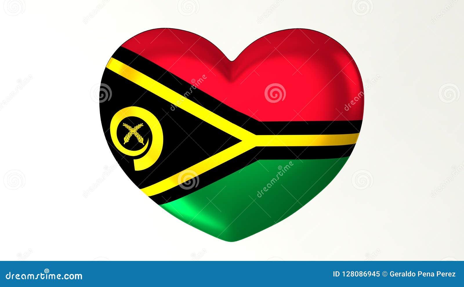 Amour en forme de coeur Vanuatu de l illustration I du drapeau 3D