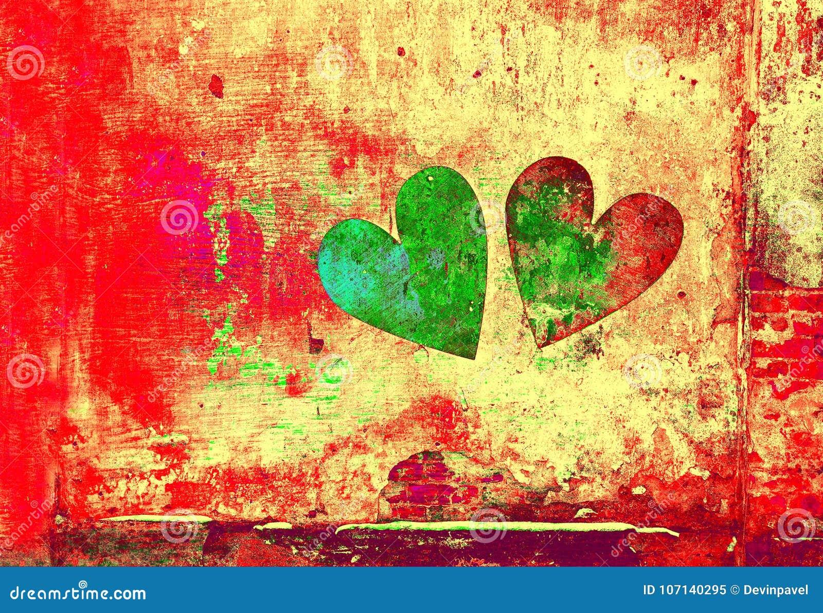 Amour et romance Fond créateur d art Coeur peint sur le mur