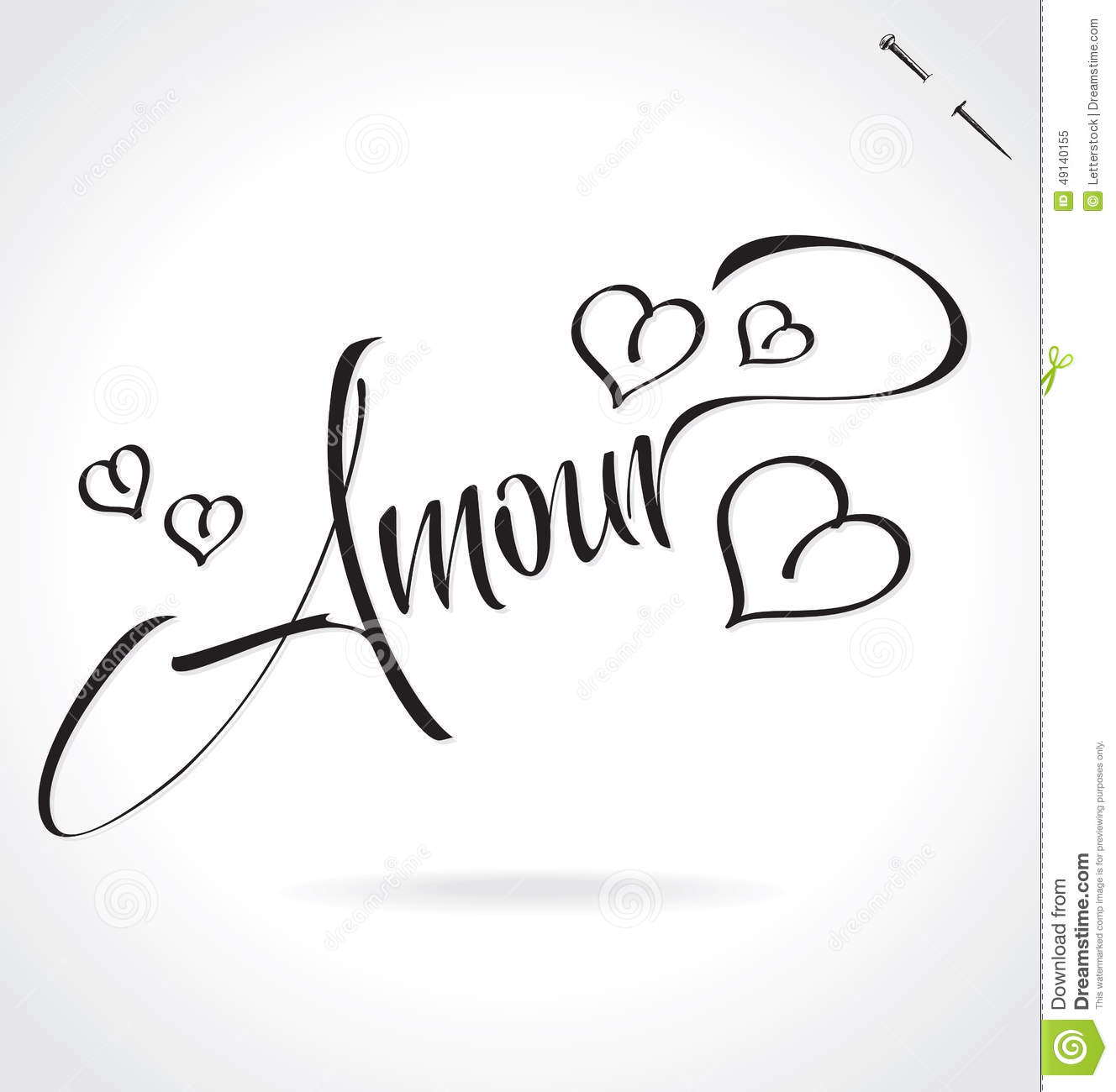 Amour Hand Lettering Vector Stock Vector Image 49140155