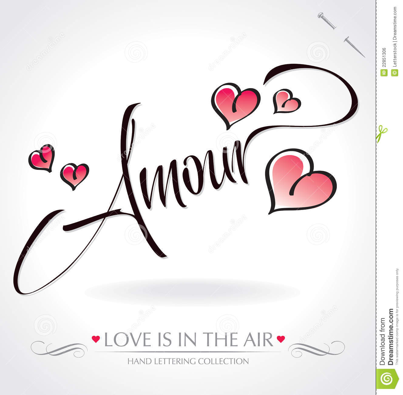 Amour hand lettering vector royalty free stock image - Clipart amour ...