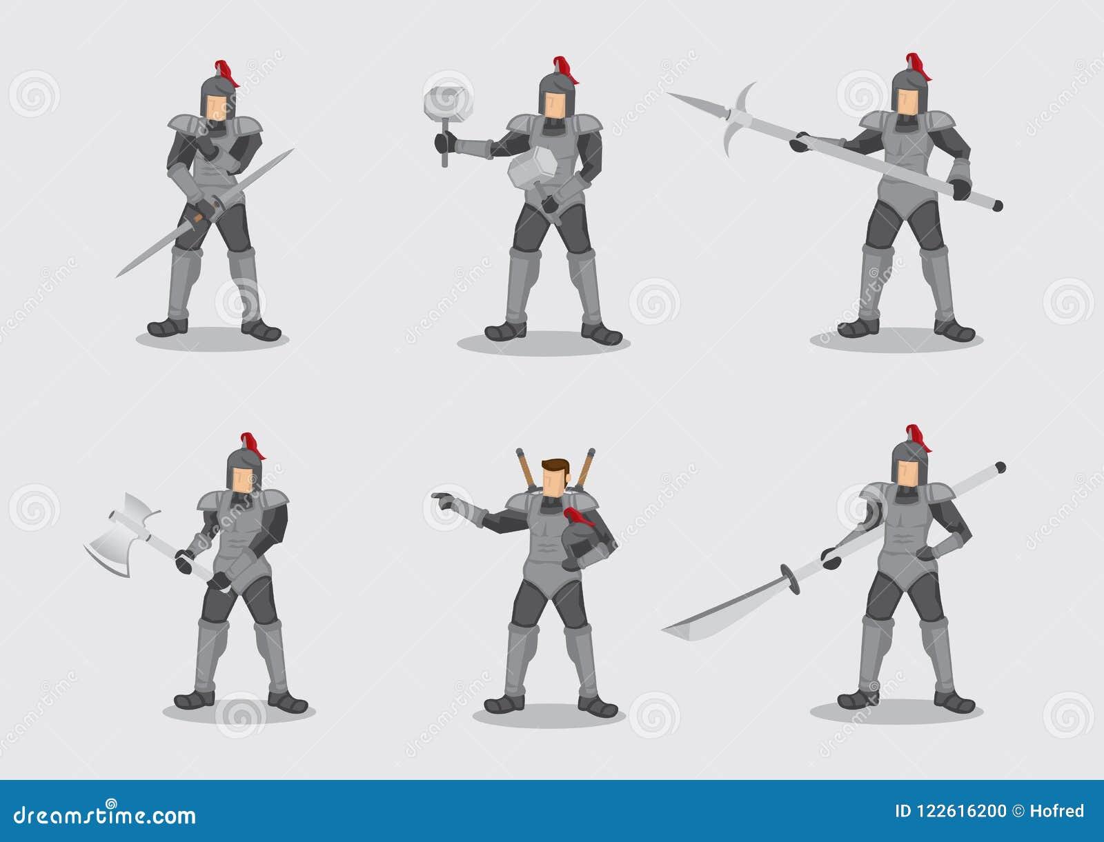 Amour kostiumu bitwy wojownik Zbrojący z broń charakteru wektoru bolączką