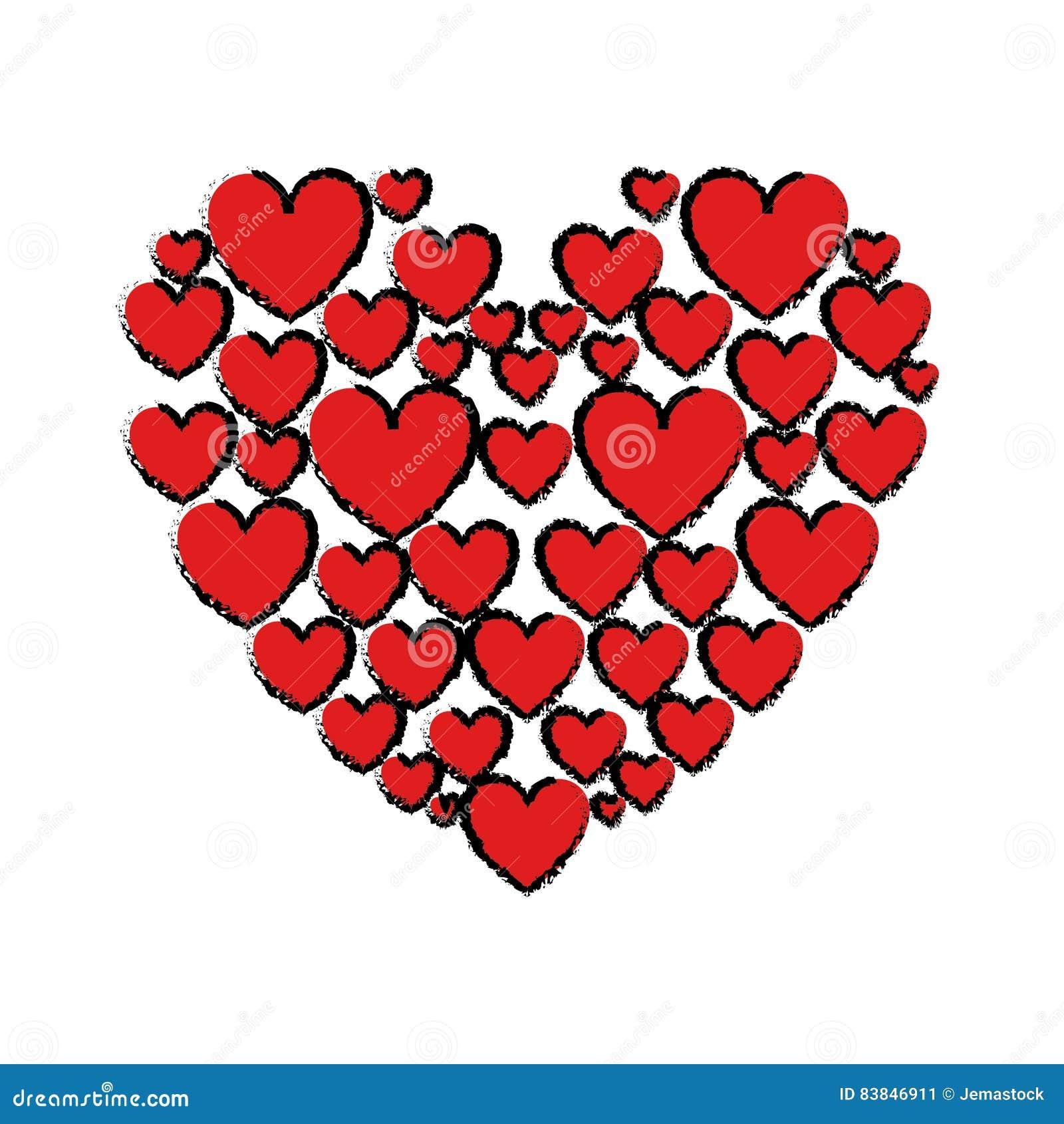 Amour Rouge De Dessin De Coeurs Illustration De Vecteur
