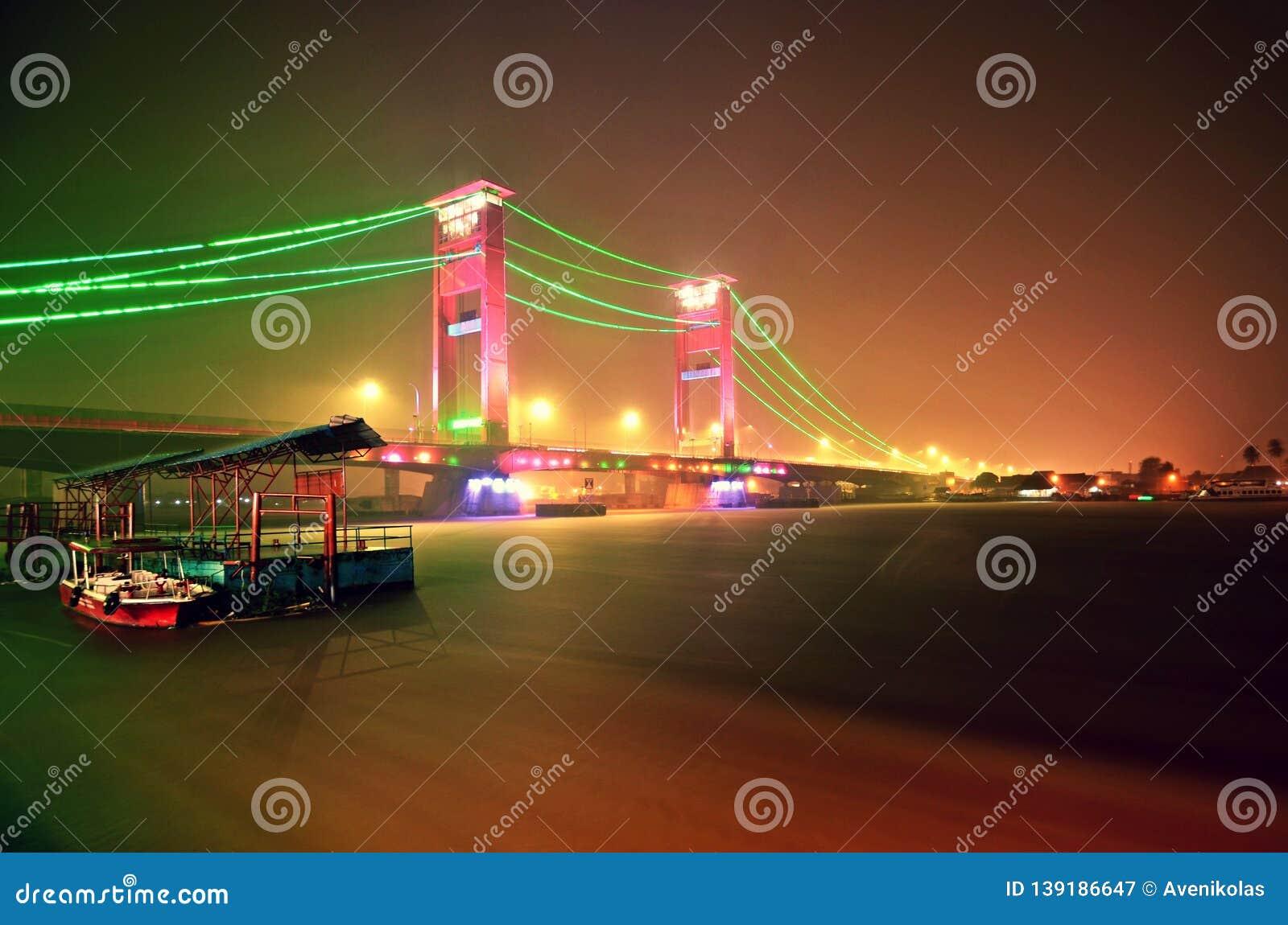 Ampera Bridge at Night, Palembang, Indonesia