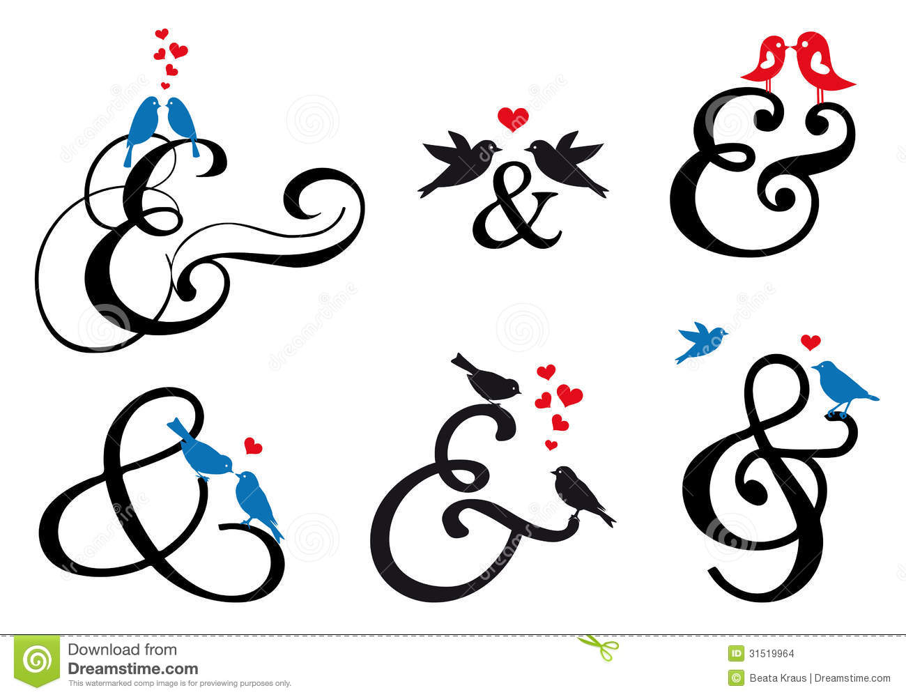 Ampersand Sign With Birds, Vector Set Stock Images - Image: 31519964