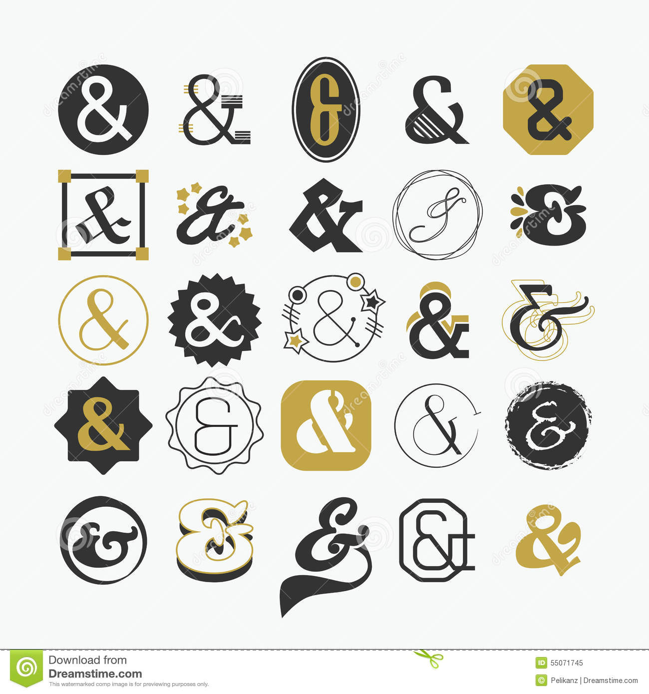 Ampersand Sign And Symbol Design Elements Set Stock Vector