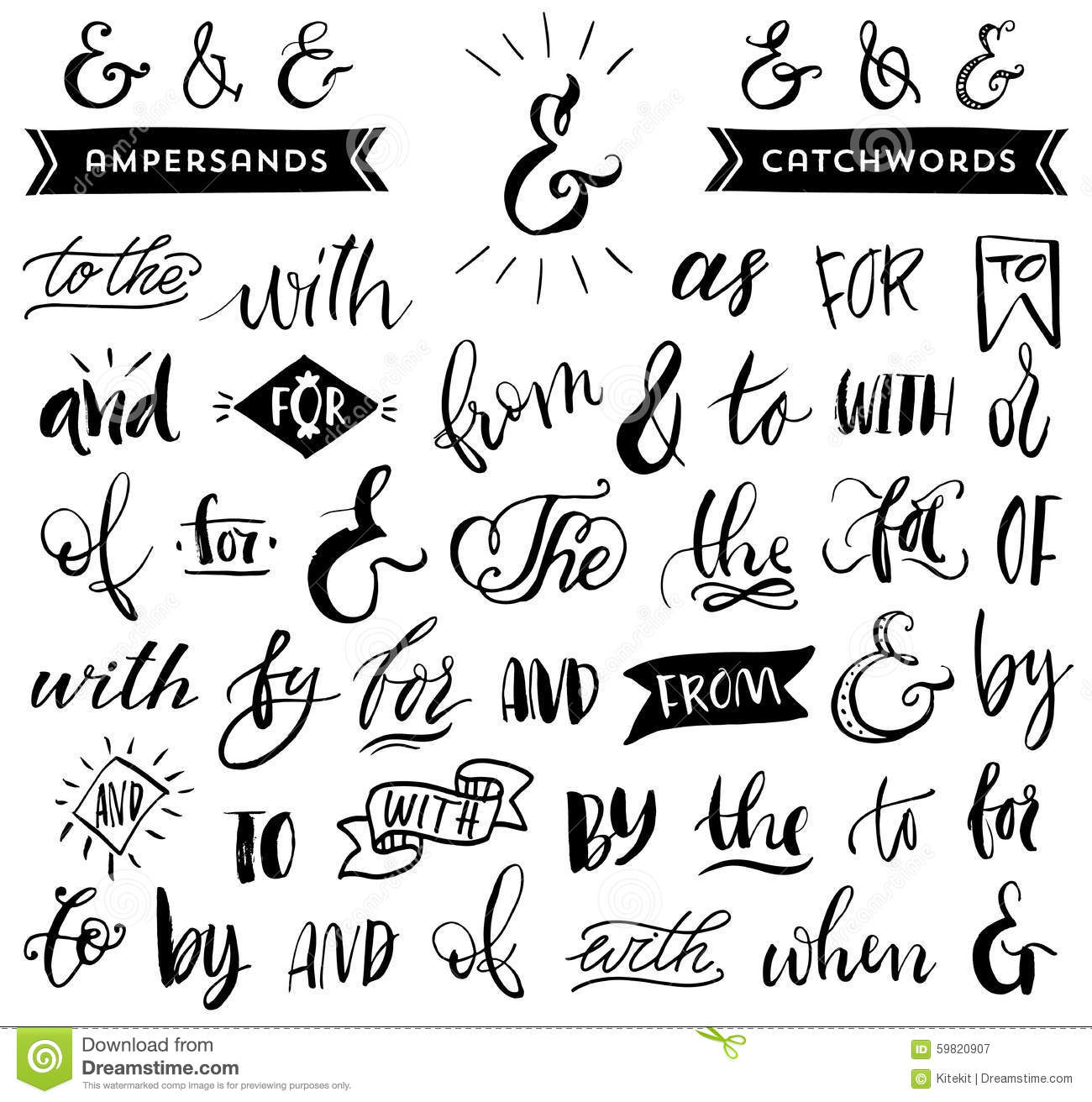 Ampersands And Catchwords. Handwritten Calligraphy Lettering Stock ...