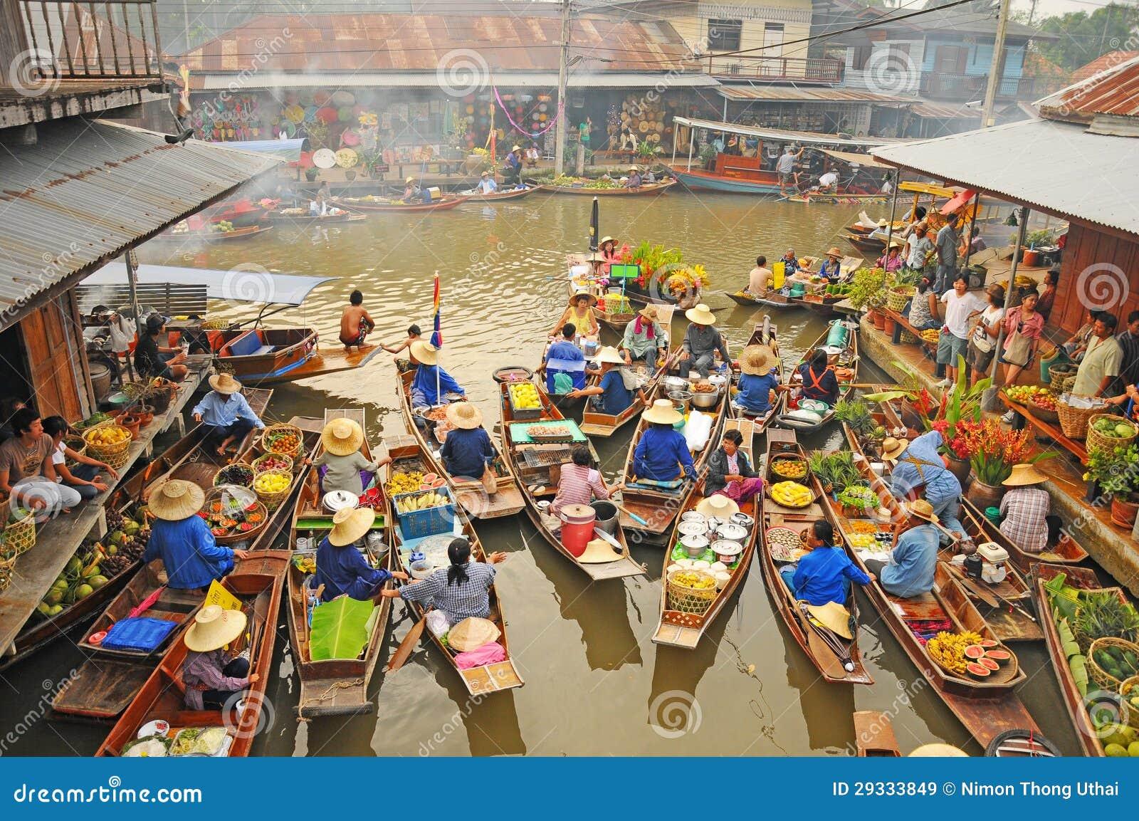 Amphawa浮动的市场, Amphawa,泰国视图