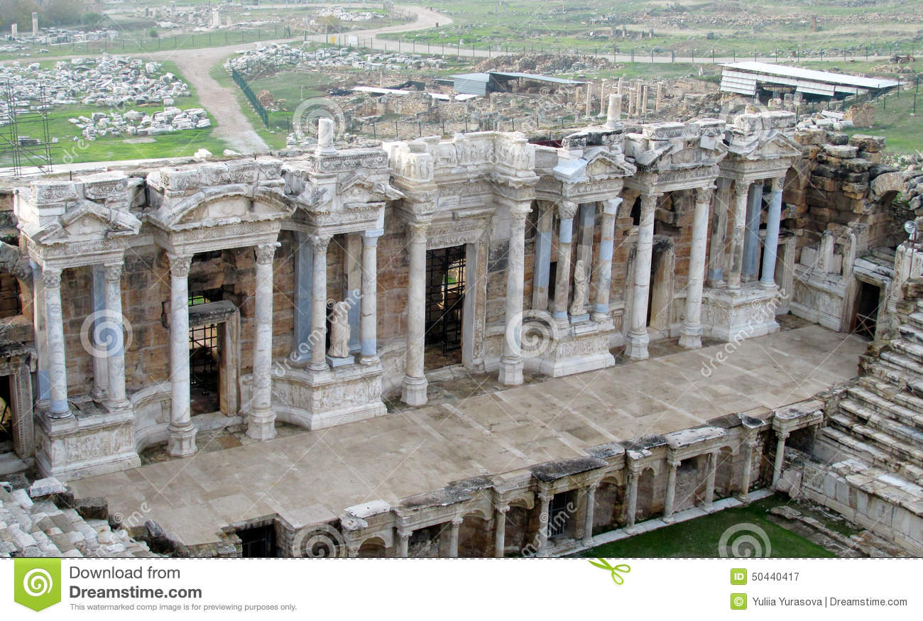 Amphitheatre In Ancient Ruins Of Hierapolis In Turkey