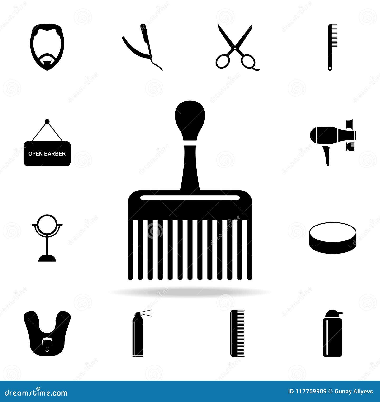 Ampia icona del pettine Insieme dettagliato degli strumenti del barbiere Progettazione grafica premio Una delle icone della racco