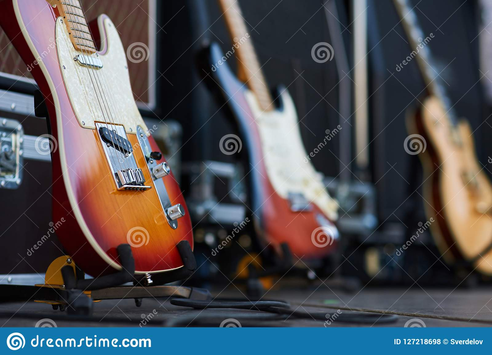 Amplifier with electric guitar on the stage. music instrument set for guitarist. no people