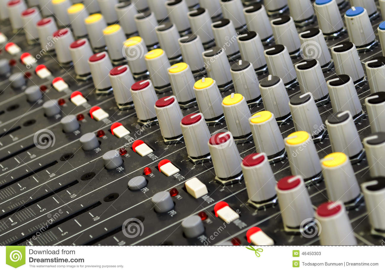 Amplifier And Equalizer Mixer Switch Stock Image - Image of