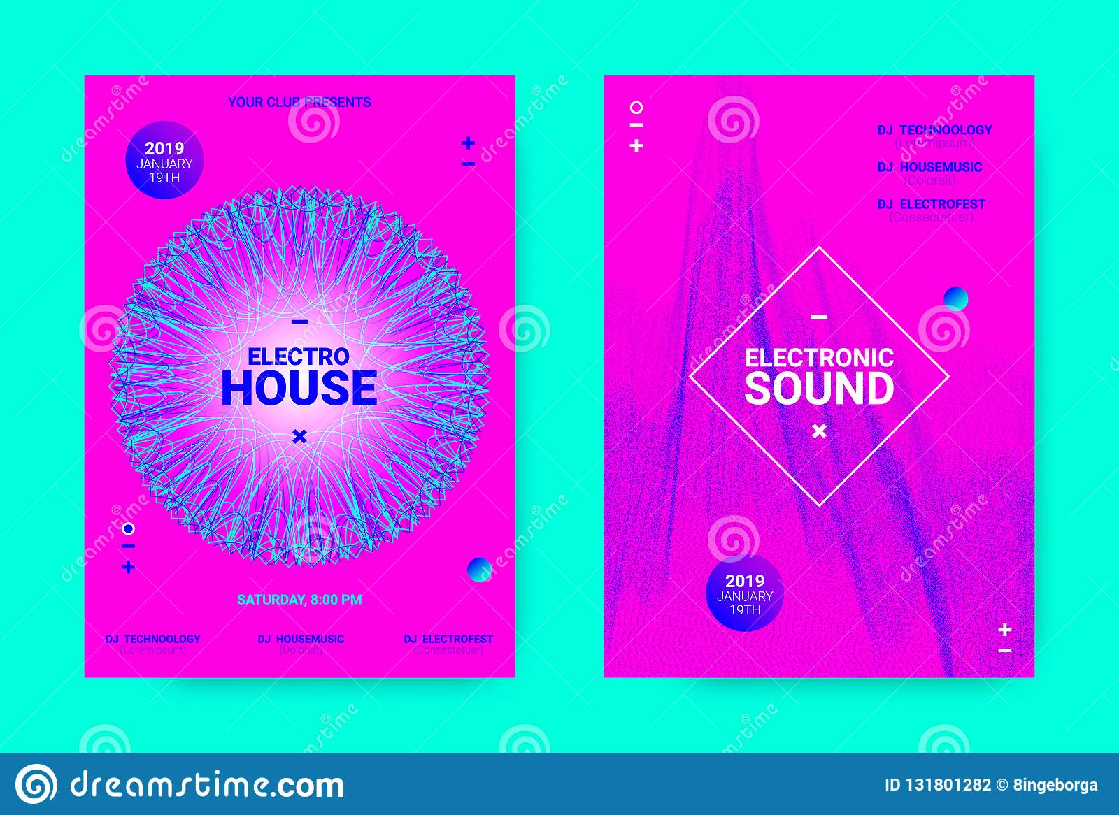 Wave Music Poster Concept  Electronic Sound Flyer  Stock Vector