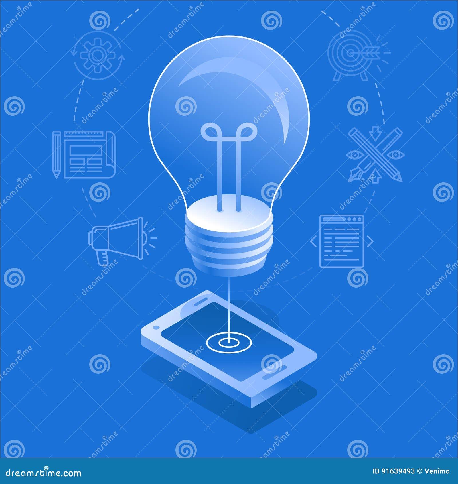 Ampola e telefone celular - processo criativo do desenvolvimento do app