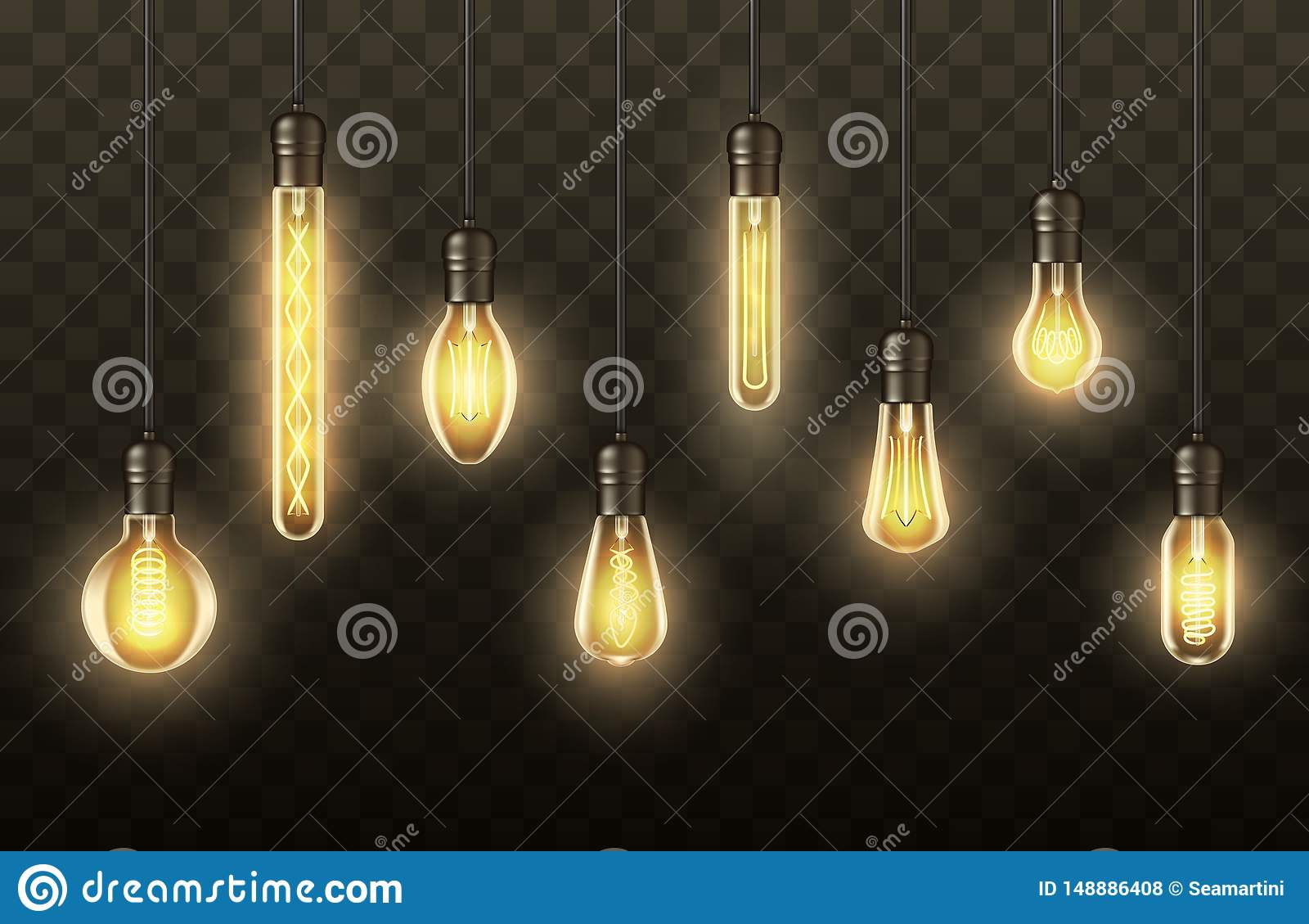 Ampolas, lâmpadas realísticas que penduram em fios