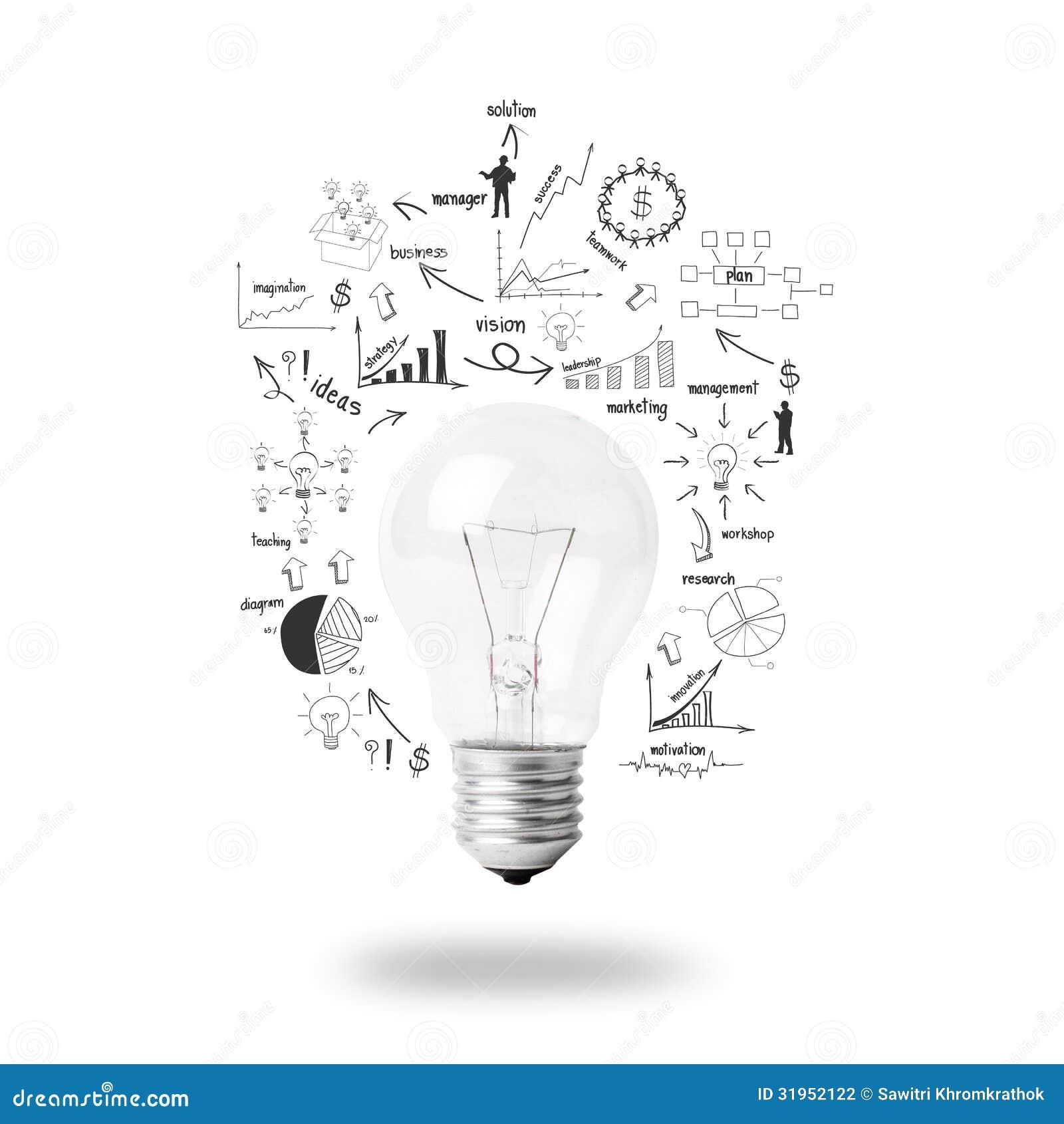 Ampoule avec l 39 id e de concept de strat gie de plan d for Dessin plan