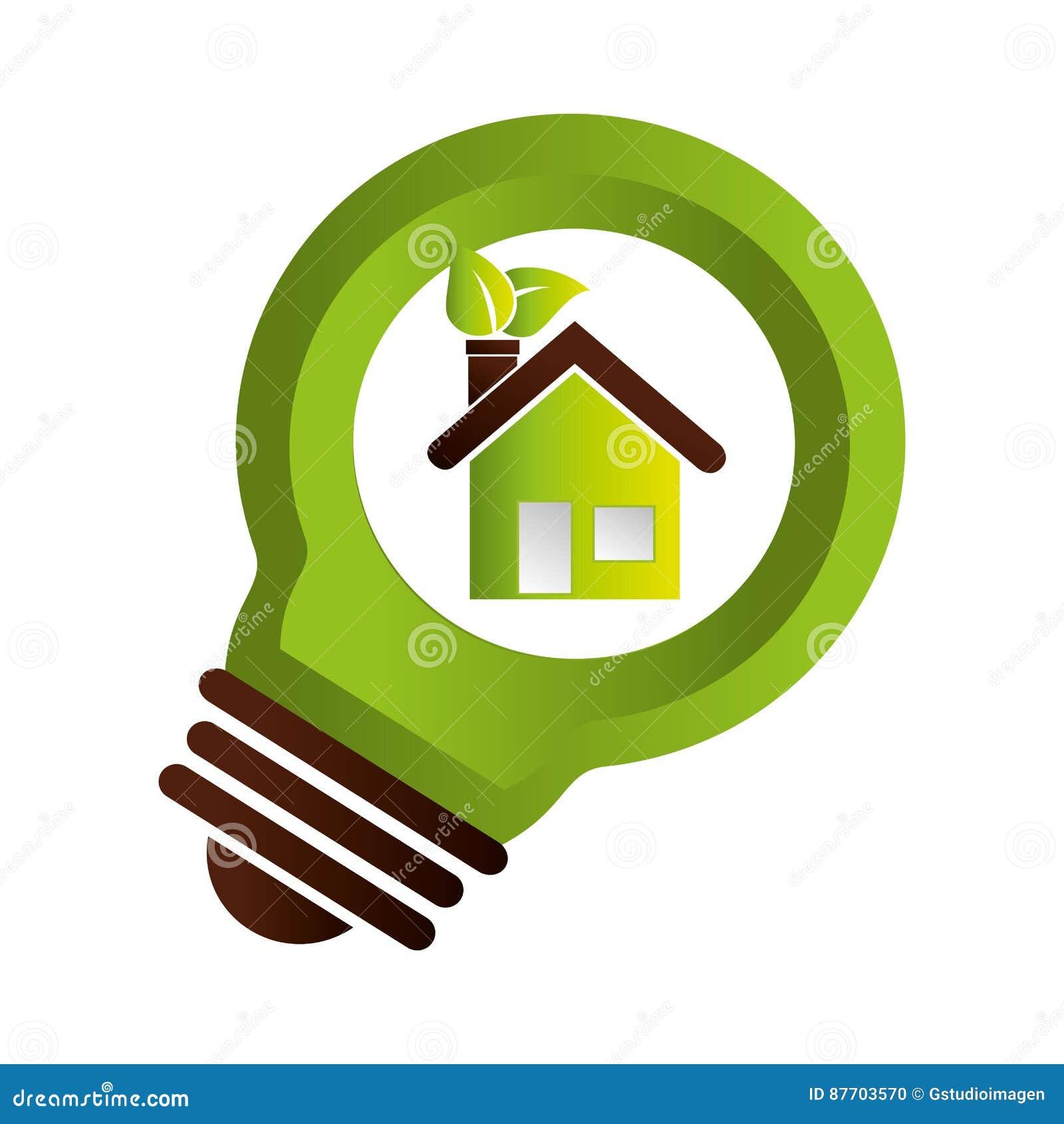 Ampoule avec le symbole d écologie de feuilles