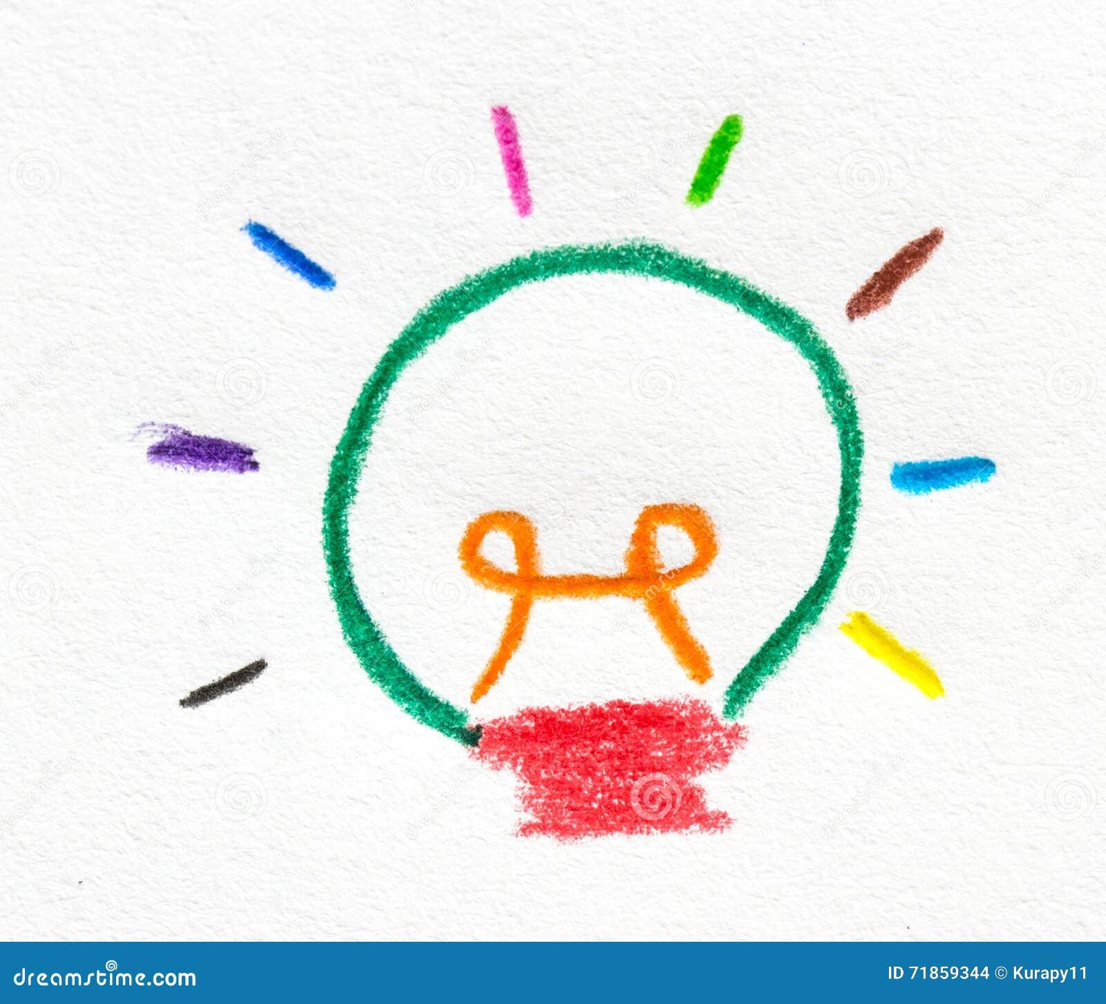 ampoule colore peinte par crayon en papier - Ampoule Colore