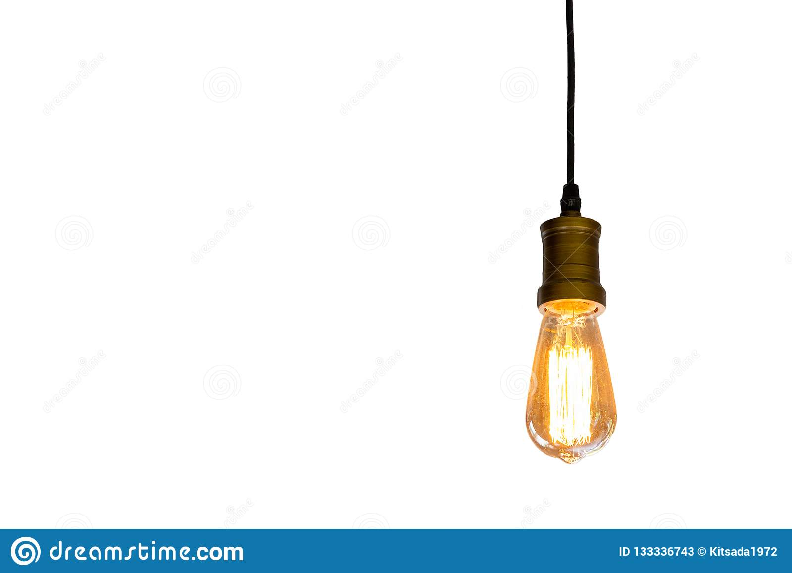 Ampoule de cru accrochant le fond blanc d isolement, conce d idée