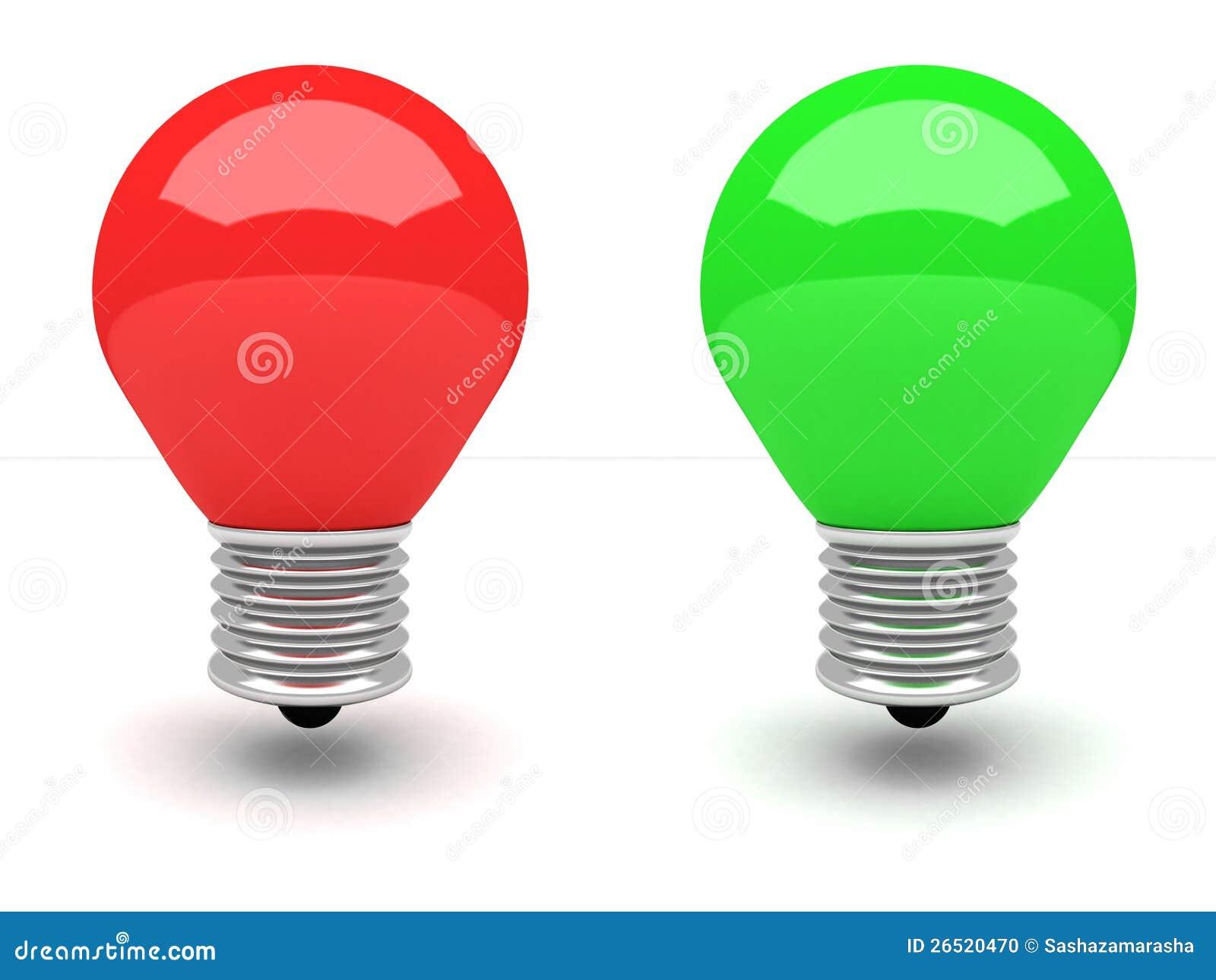 ampoule de feu rouge et vert sur le fond blanc illustration stock illustration du personne. Black Bedroom Furniture Sets. Home Design Ideas